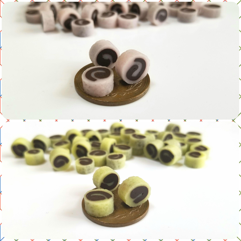 ミニチュアフード,和菓子,餡ロール,樹脂粘土,オビツろいど,11,食品