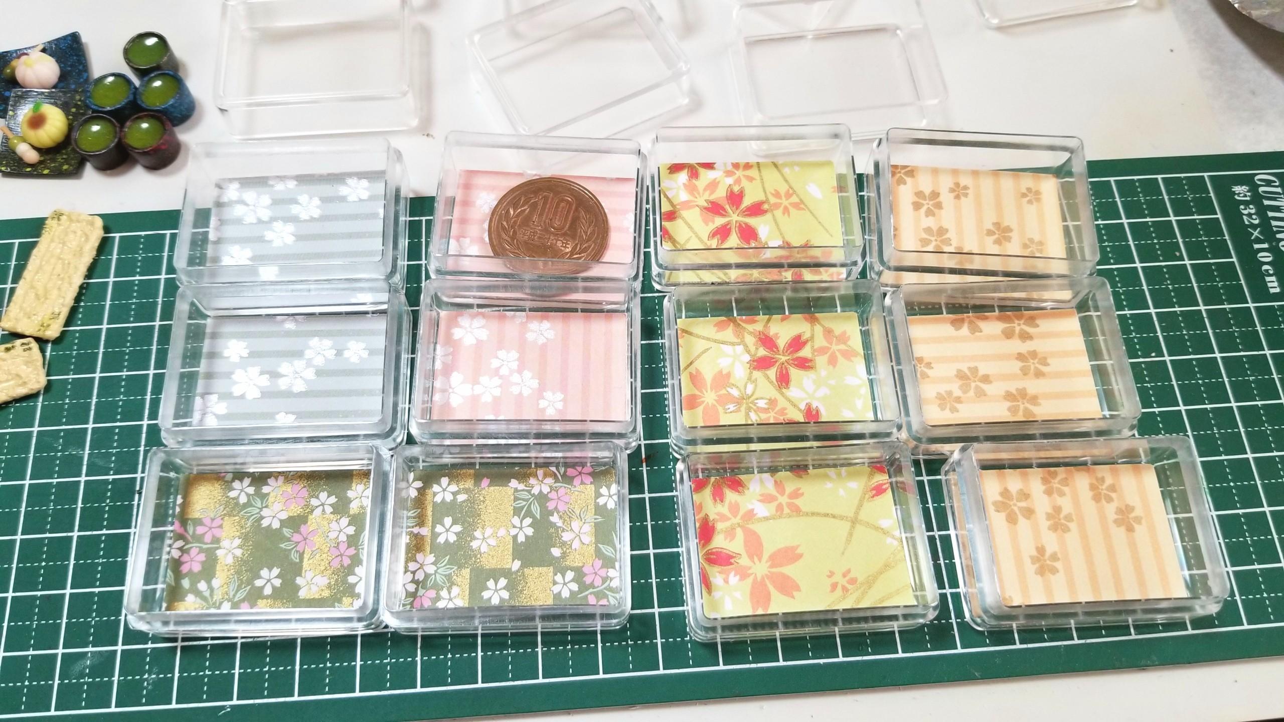 台紙,土台,作り方,透明クリアケース,ミニチュアフード,千代紙,折り紙