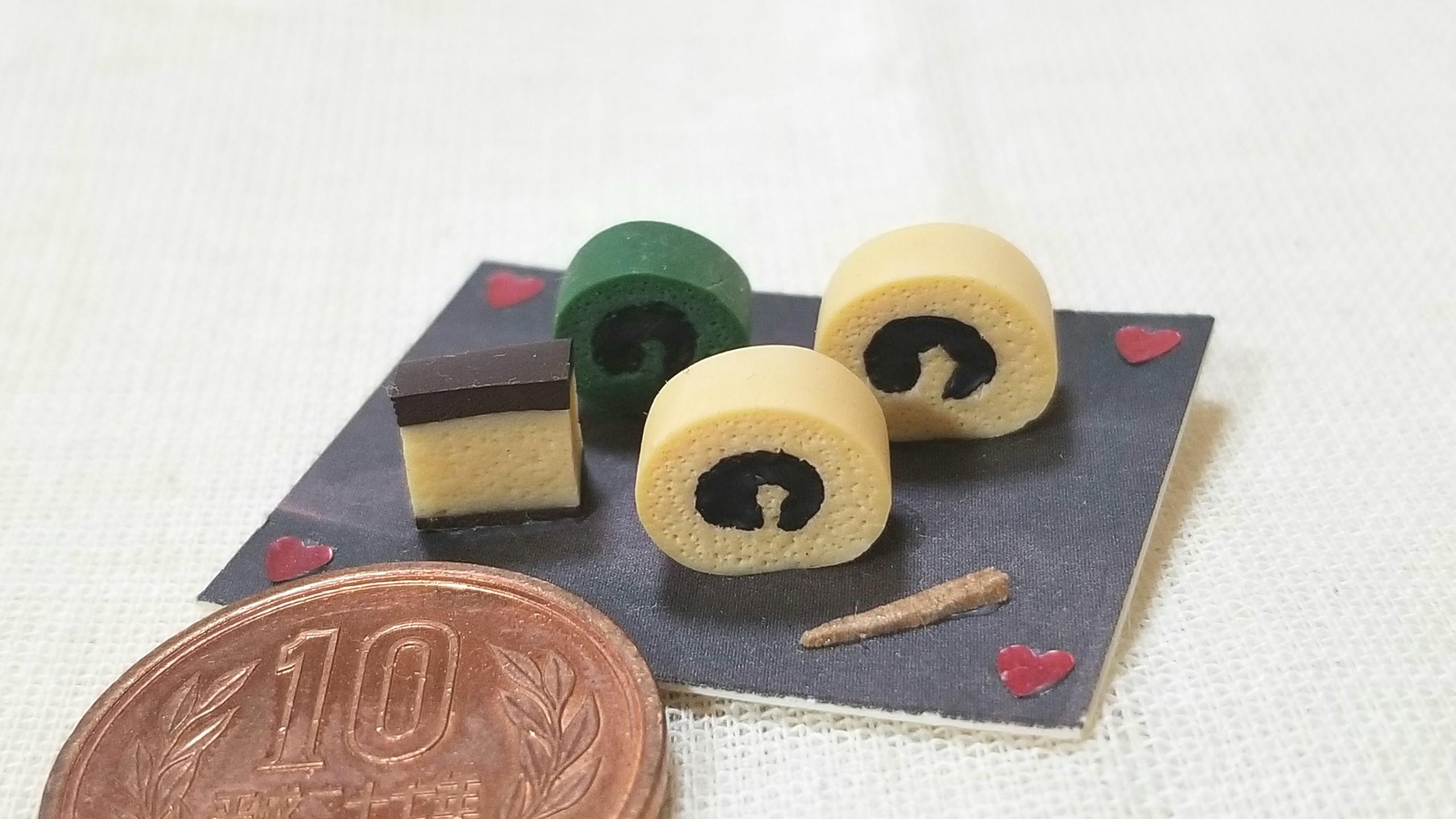和菓子,甘味処,ミニチュアフード,一六タルト,樹脂粘土,カステラ,食玩
