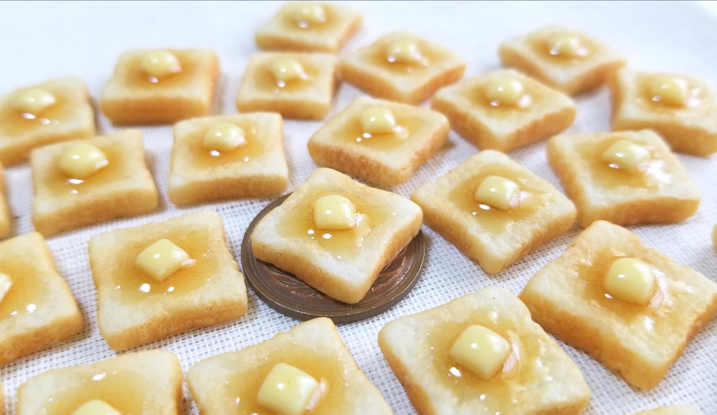 バタートースト,ミニチュアフード,食パン,粘土,あまむす,シルバニア