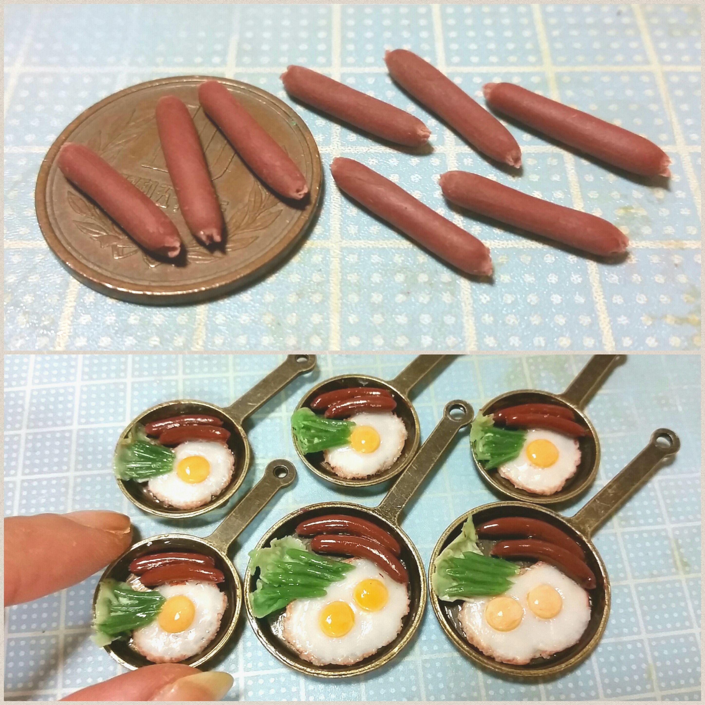 ミニチュア,目玉焼きとソーセージ,おいしいおすすめ,樹脂粘土アート