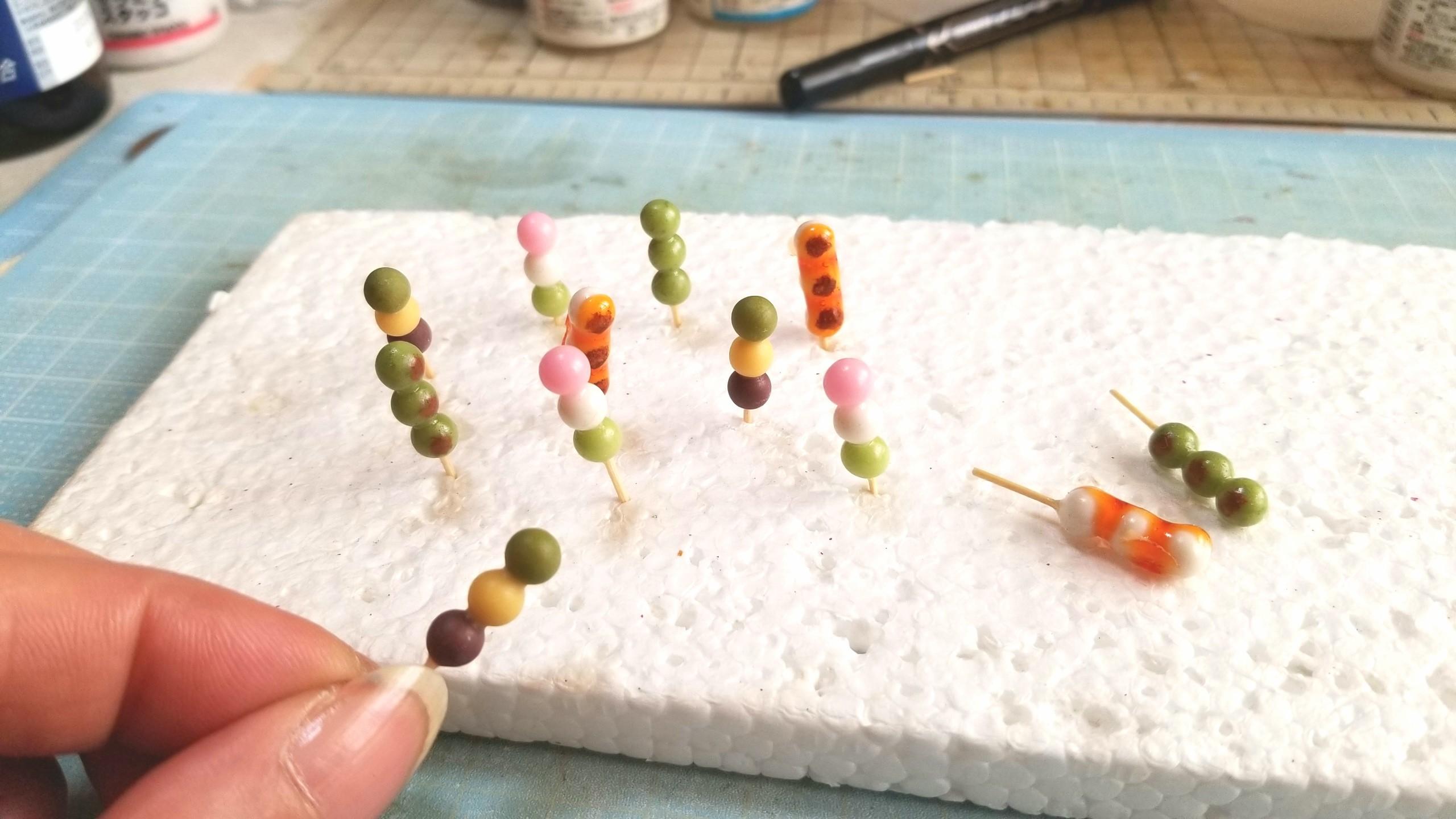 団子,三色,みたらし,よもぎ,坊っちゃん,樹脂粘土,ミニチュア,ドール