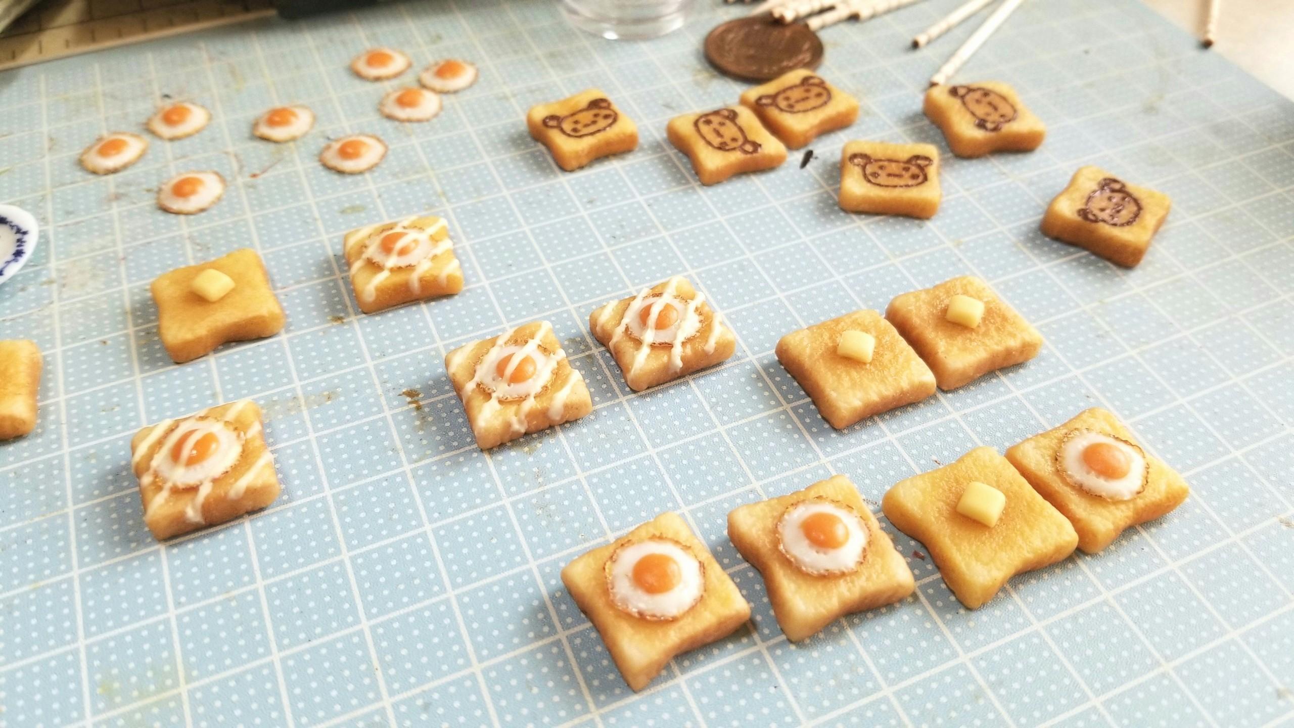 ミニチュア,樹脂粘土,目玉焼きトーストラピュタパン食作り方ブログ