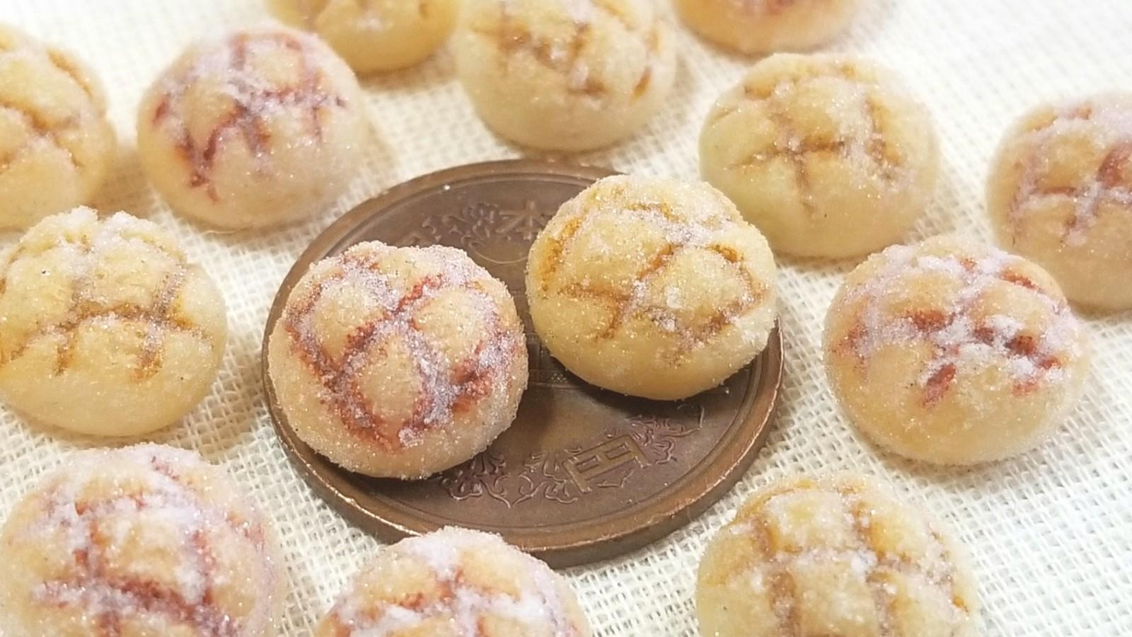 ミニチュアフード,美味しいメロンパン,可愛い,こんがり,樹脂粘土