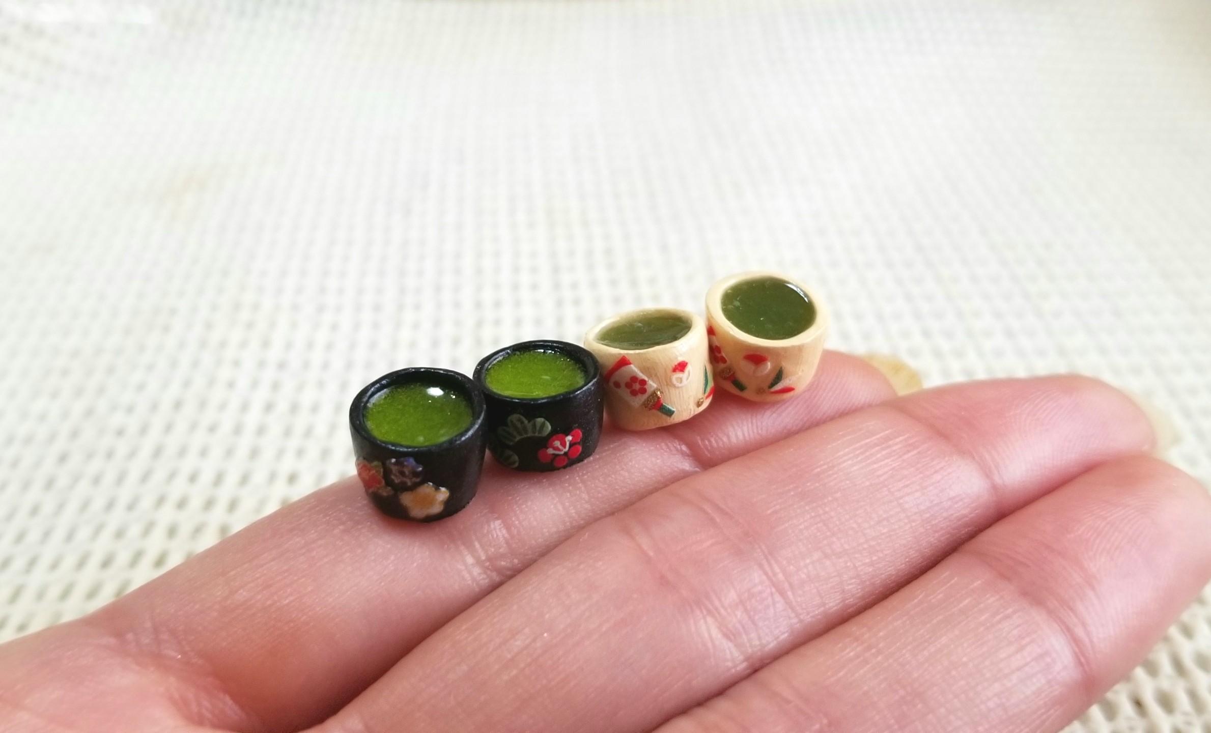 ミニチュアフード,ミンネ,オーダー品,お抹茶,UVレジン,和柄,和風