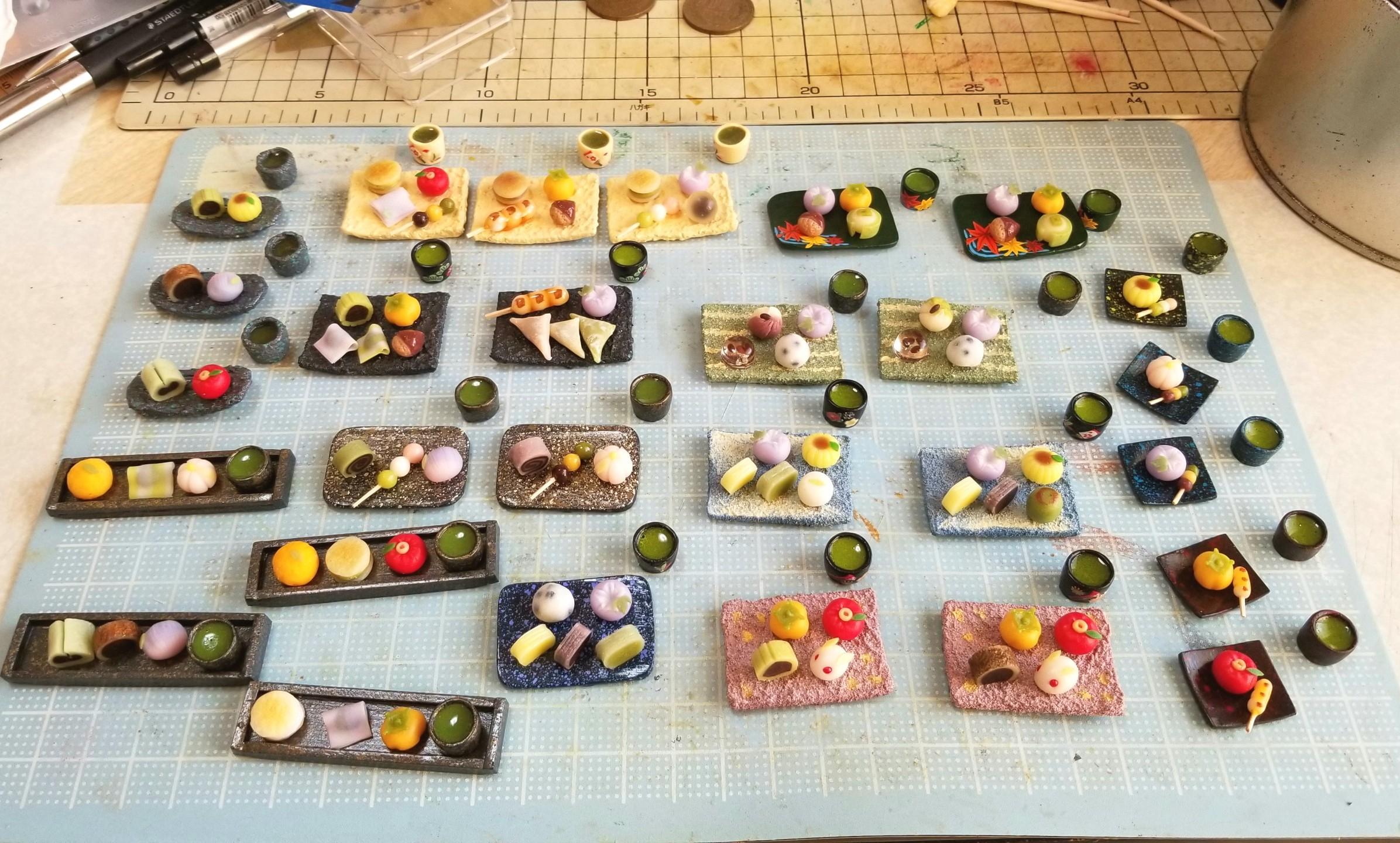 和菓子,ミニチュア,ミニチュアフード,イベ,樹脂粘土,ドールハウス