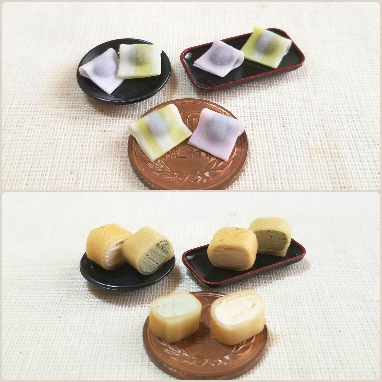 上生菓子,甘味処,おやつ,和スイーツ,樹脂粘土,柚子,桜,焼きカステラ