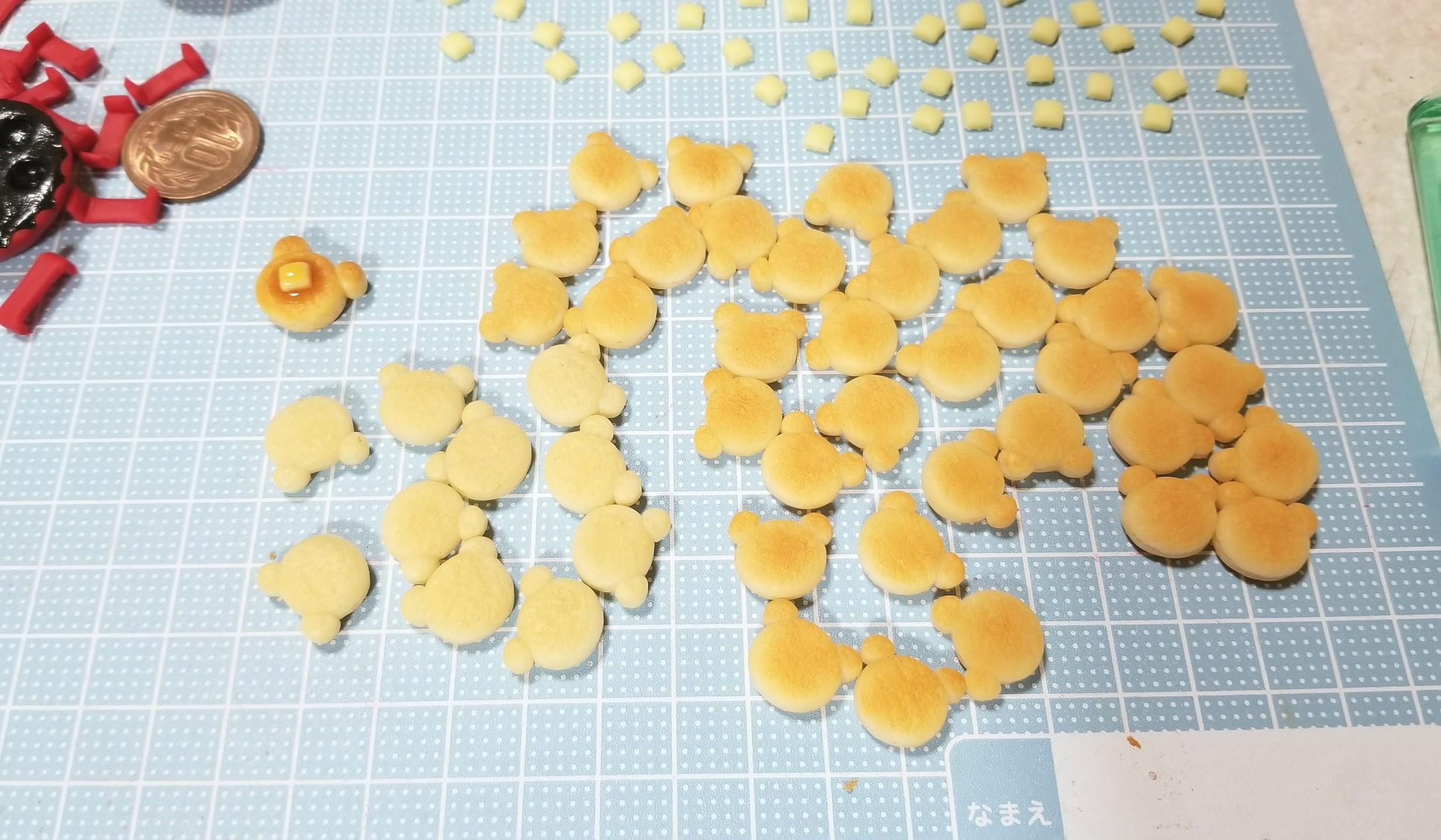 作り方,クマ,ホットケーキ,粘土,ミニチュアフード,フェイクフード