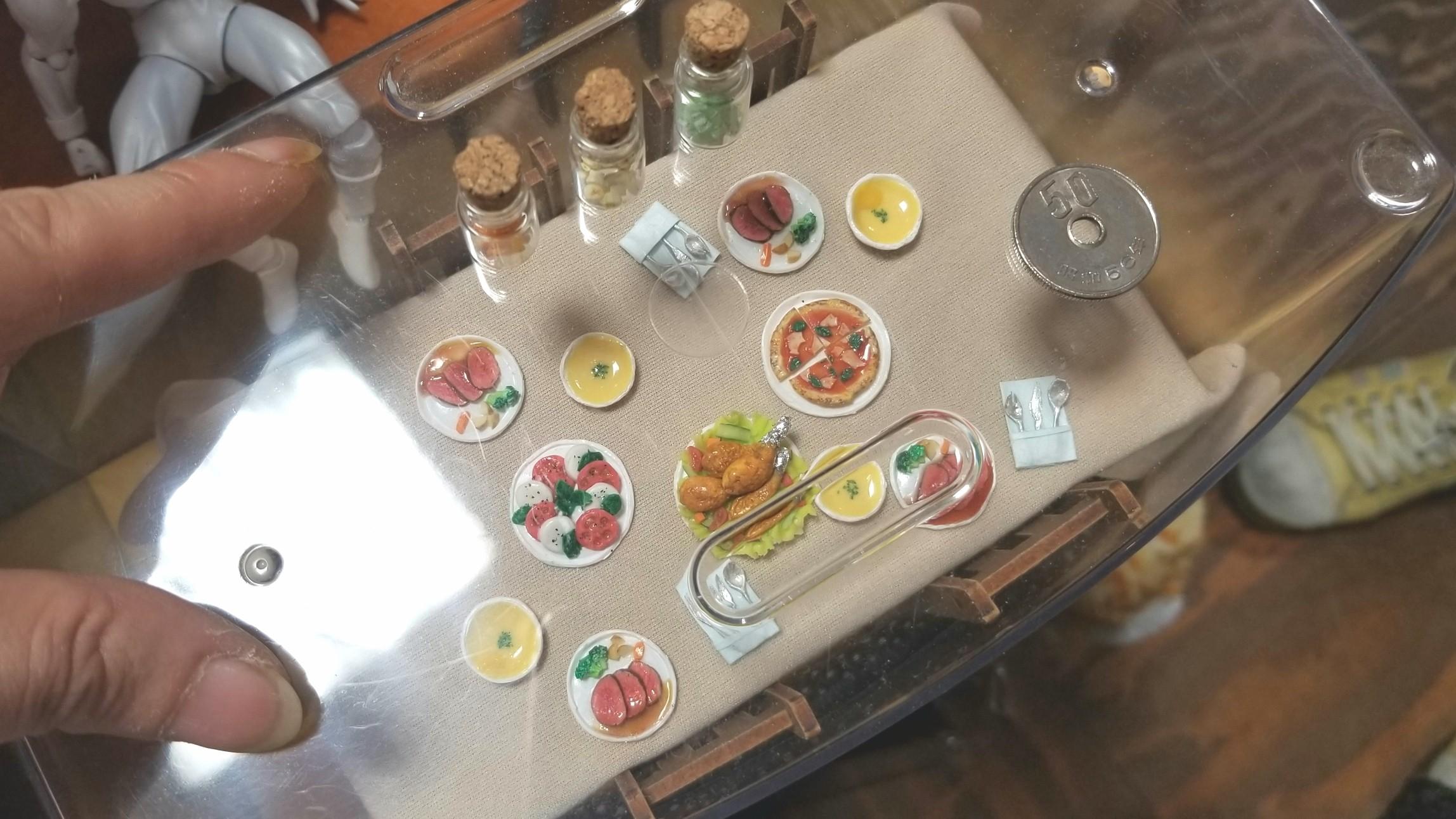 ミニチュアフード,洋食レストラン,ディナー,粘土,小さい,可愛い