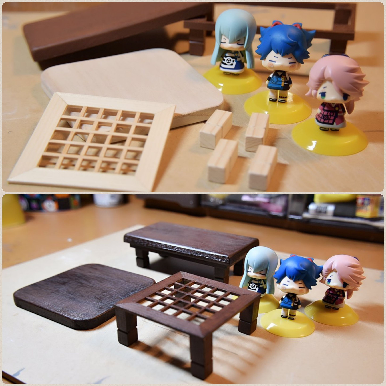 ねんどろいどぷち,ハンドメイド机,テーブル,ちゃぶ台作り,木工作業