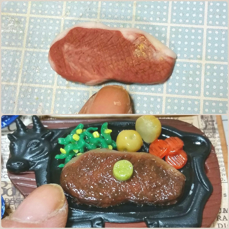 ミニチュアフード,おいしい鉄板ステーキ,おすすめ,樹脂粘土アート