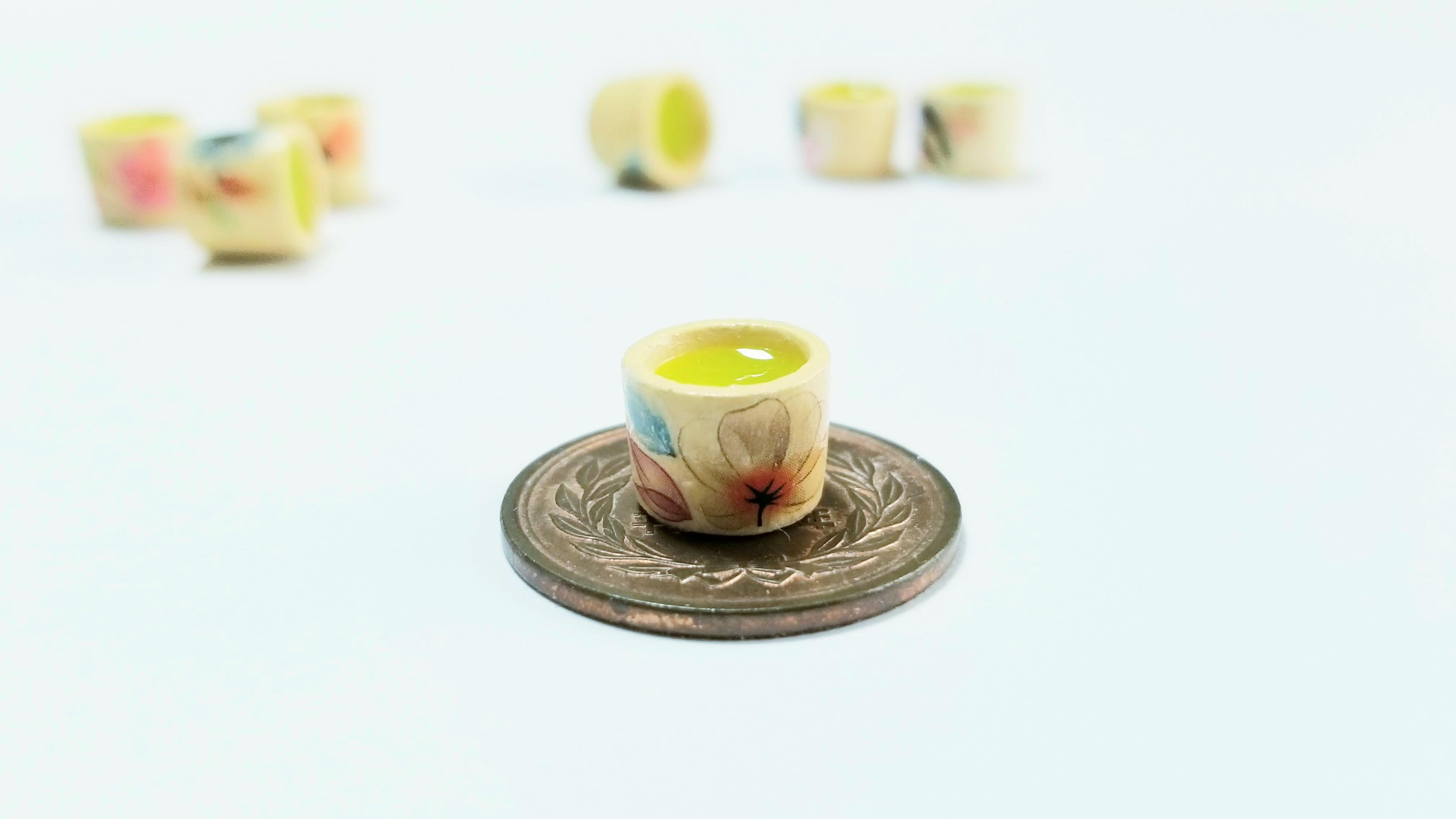 ミニチュアフード飲み物ドリンクお抹茶湯呑み作り方粘土作品画像写真