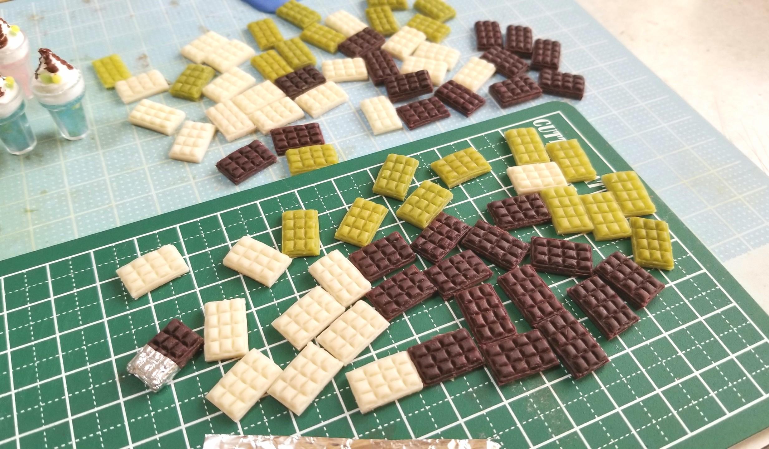 板チョコレート,作り方,ミニチュア,樹脂粘土,ドールハウス,人形