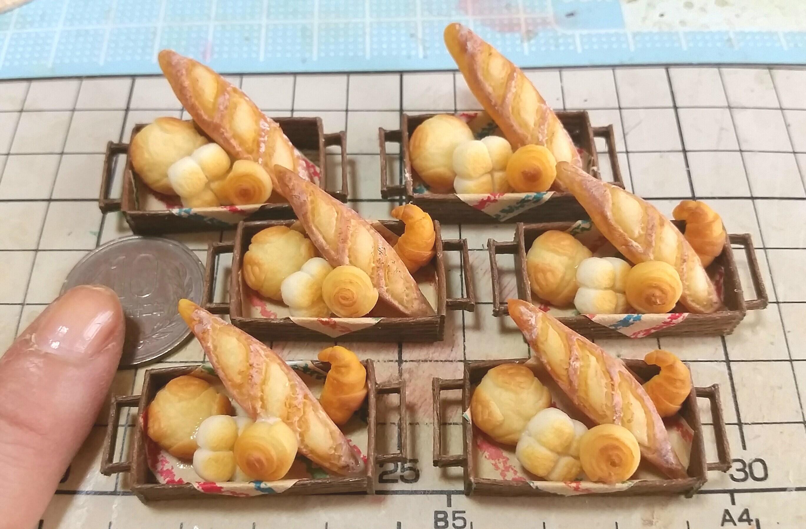 ミニチュアフード,パン,かわいい,かご,食べ物,ハンドメイド,よもぎ