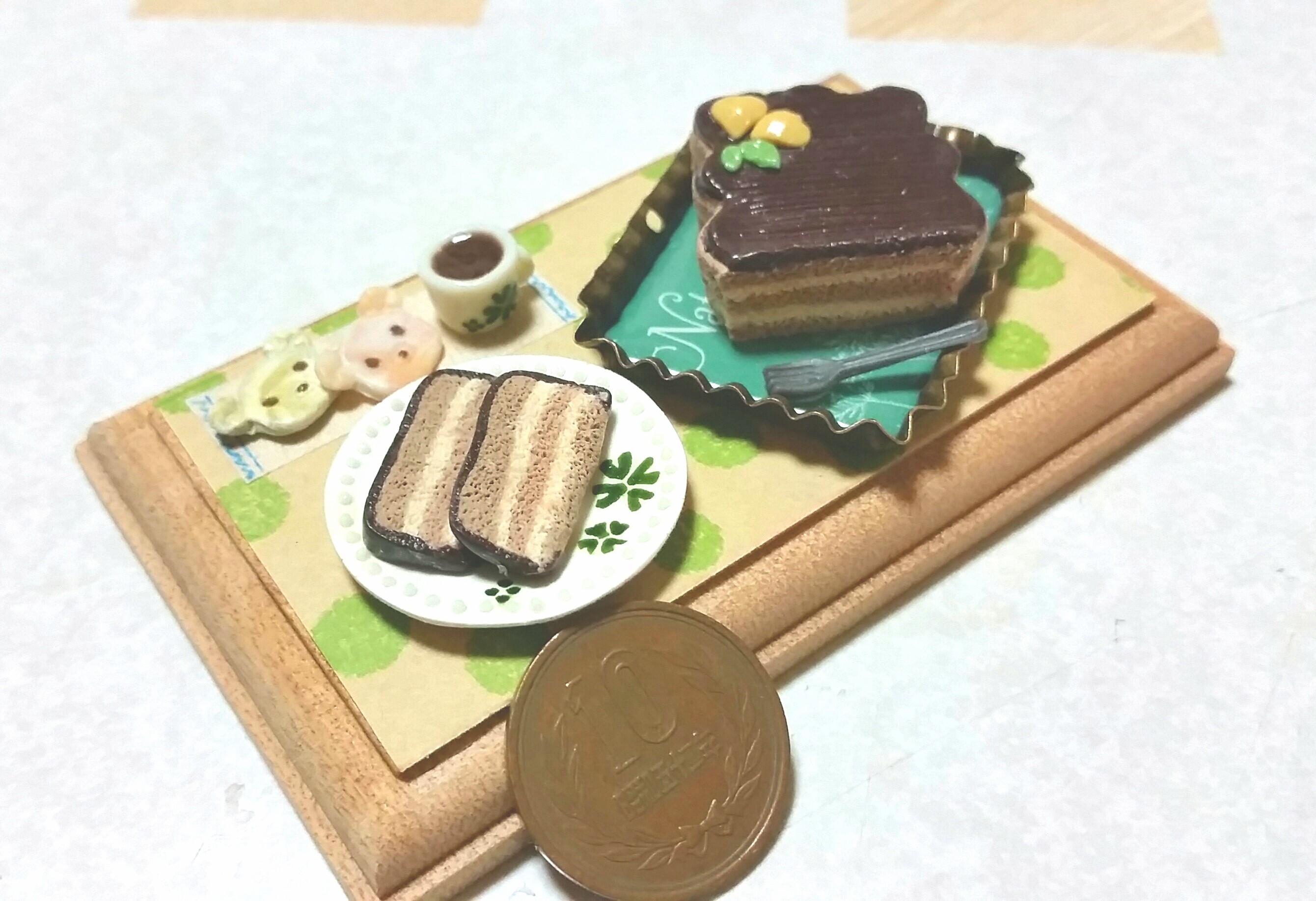 ミニチュア,チョコレートケーキ,樹脂粘土,ミンネ,スイーツおやつ