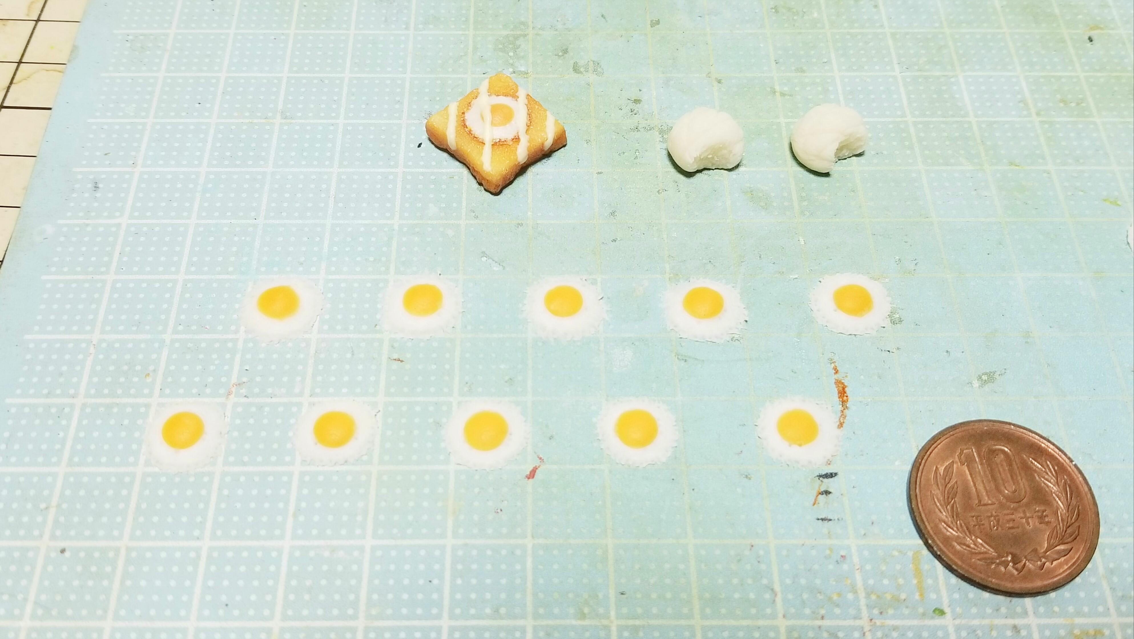 ミニチュアフードフェイク樹脂粘土目玉焼き作り方パンドール用小物