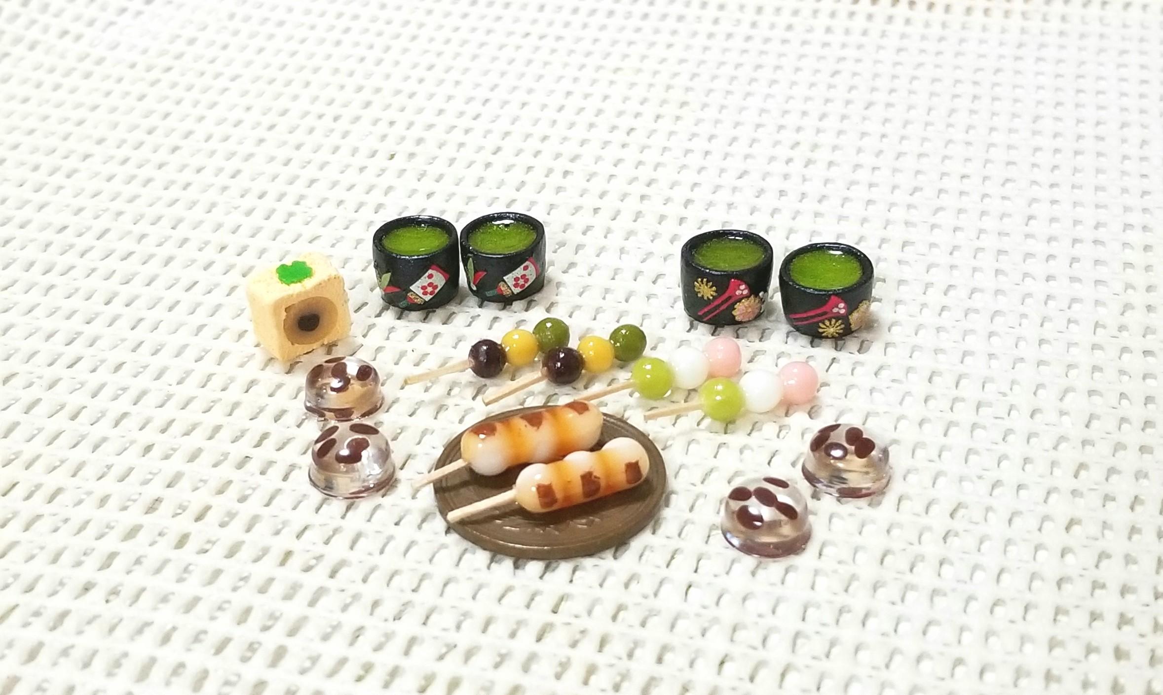 ミニチュアフード,ミンネ,オーダー品,樹脂粘土,和菓子,お抹茶,和柄