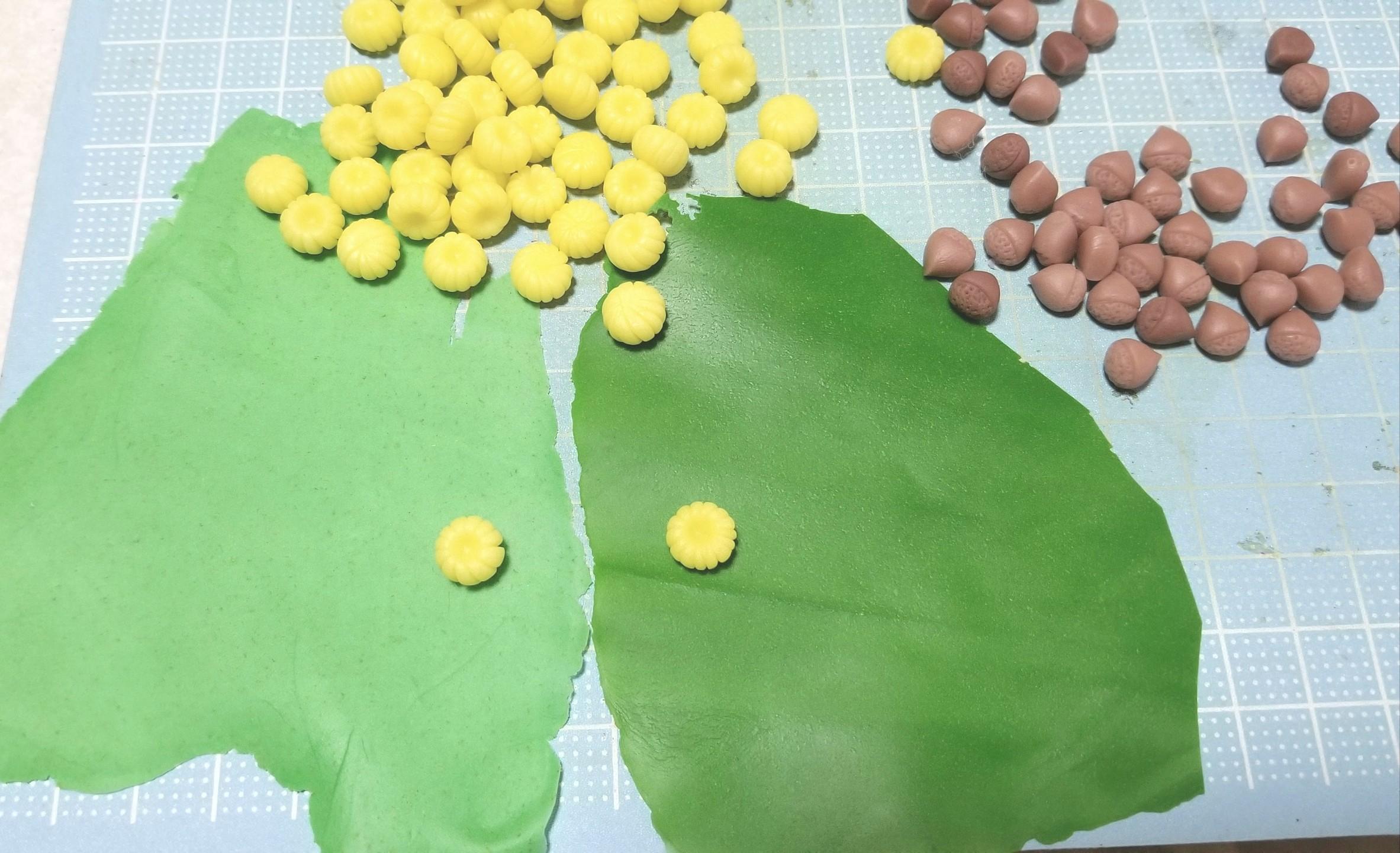 ミニチュアフード,栗,ひまわり,和菓子,練りきり,作り方,樹脂粘土
