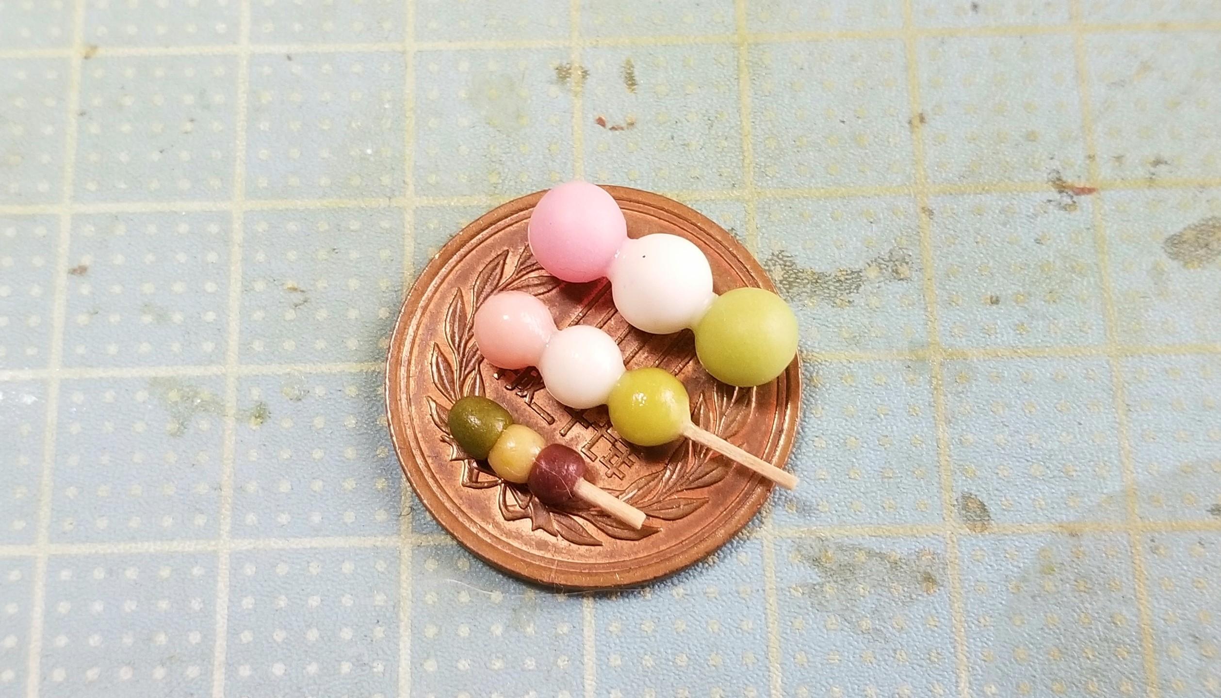 三色団子,和菓子,作り方,ミニチュアフード,樹脂粘土,ドールハウス