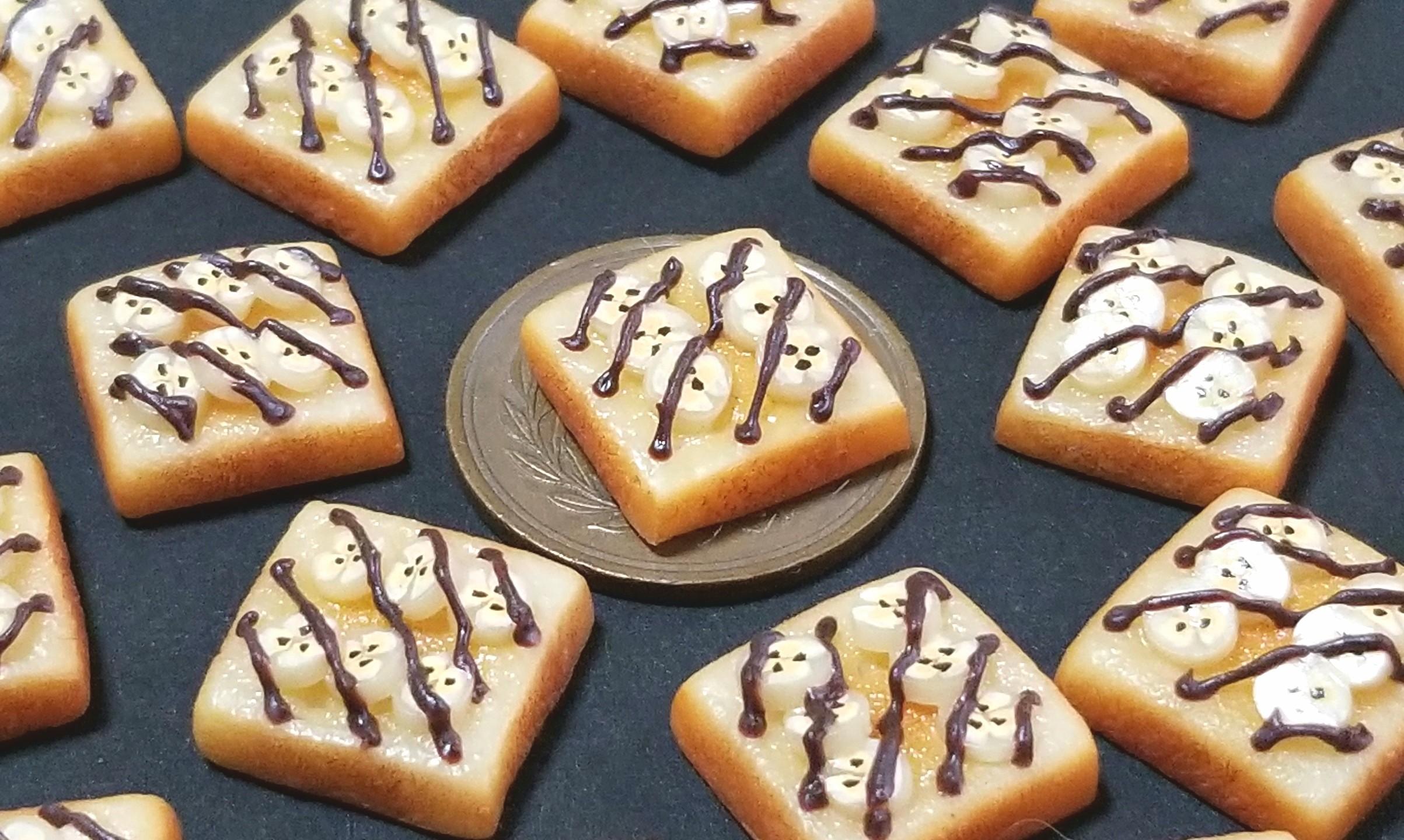 ミニチュアフード,チョコバナナトースト,樹脂粘土,オビツ11