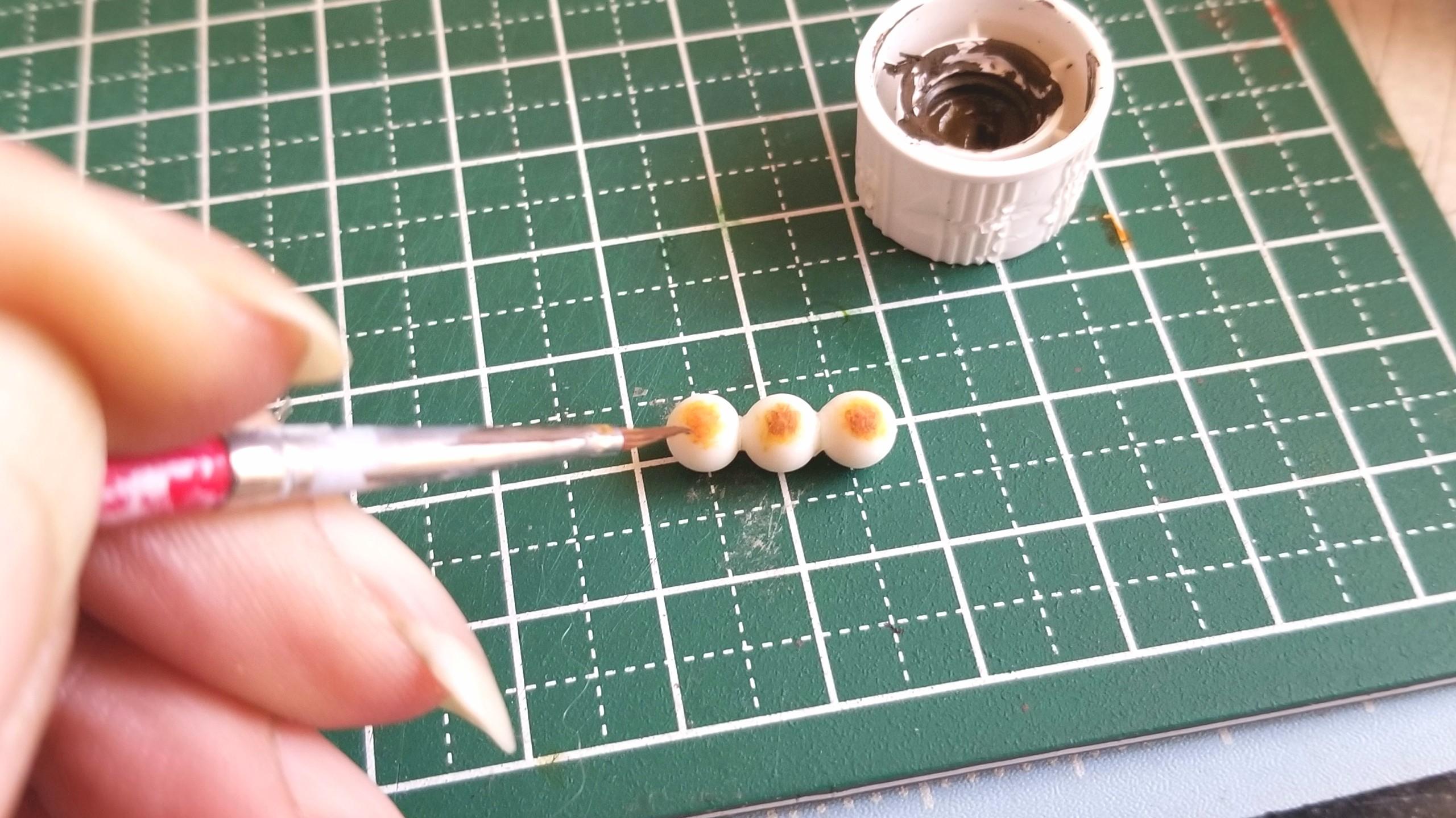 ミニチュアフード和菓子お団子の作り方樹脂粘土ブログ自作アート販売