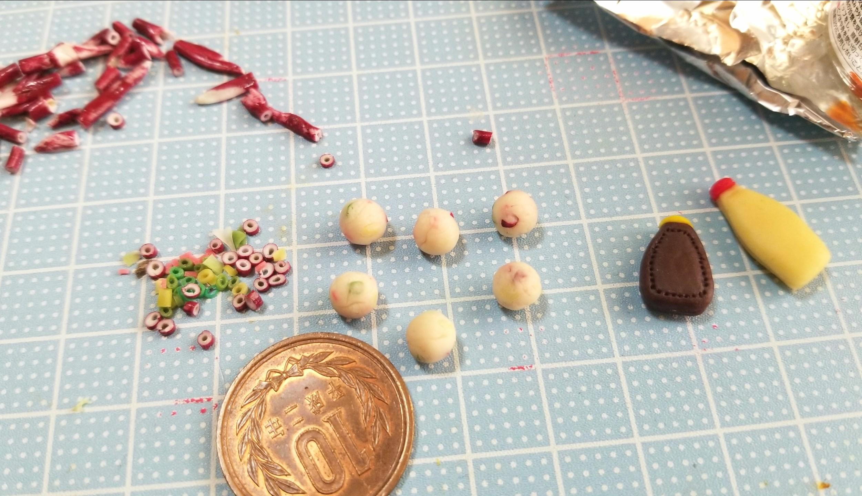 作り方,たこ焼き,ミニチュアフード,樹脂粘土,材料,ドールハウス