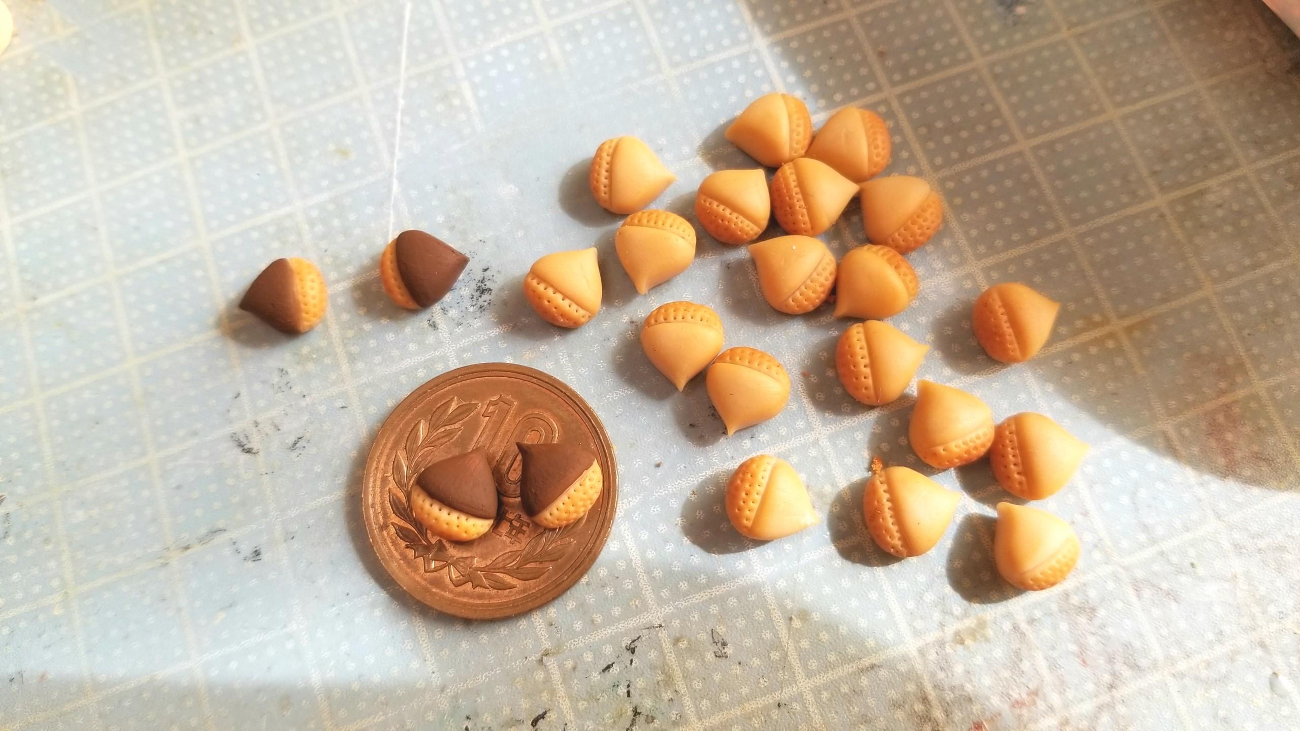栗まんじゅう,和菓子,作り方,ミニチュア,樹脂粘土,ハンドメイド