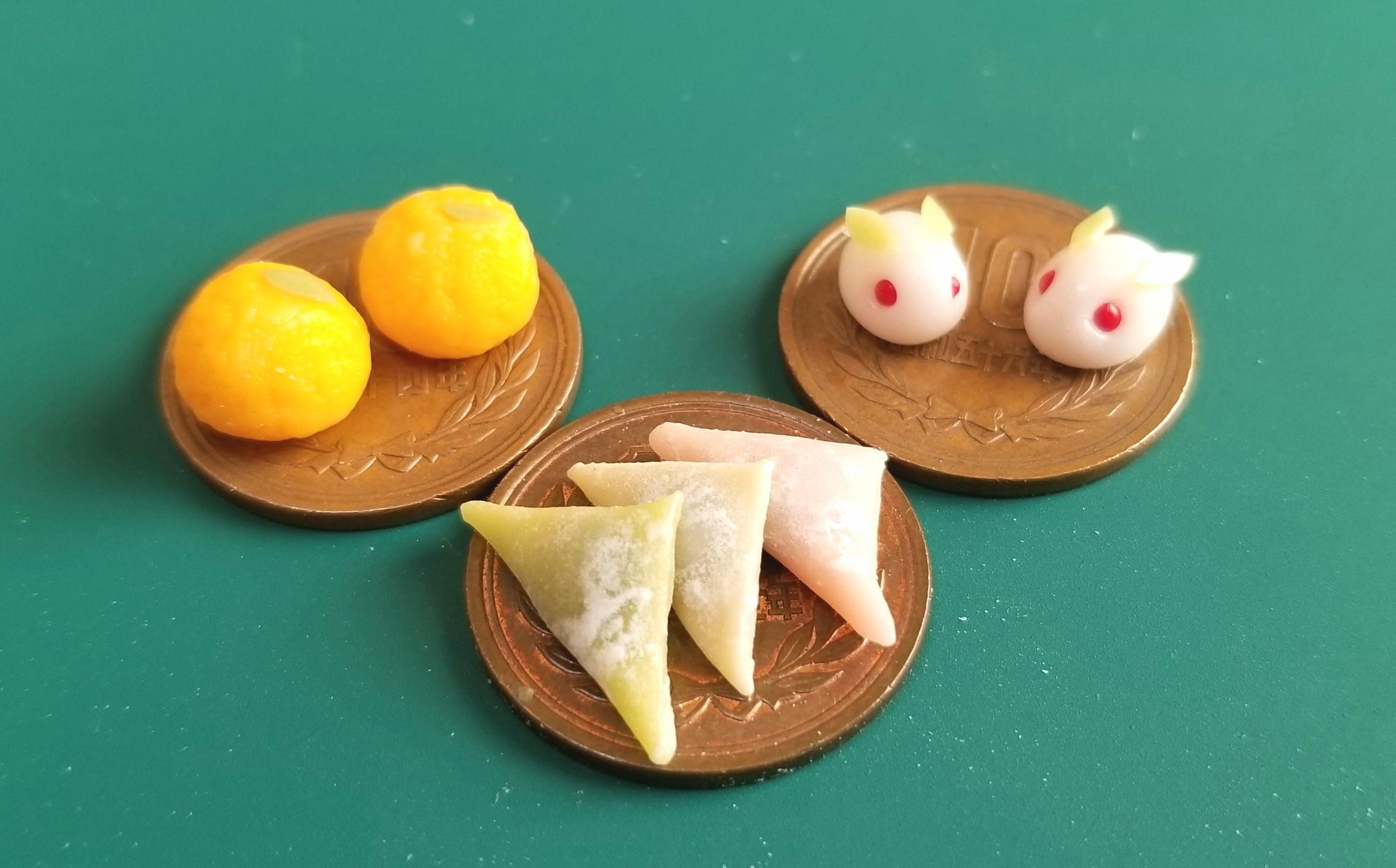 ミニチュアフード,和菓子,八ツ橋,うさぎ饅頭,夏みかん大福,樹脂粘土