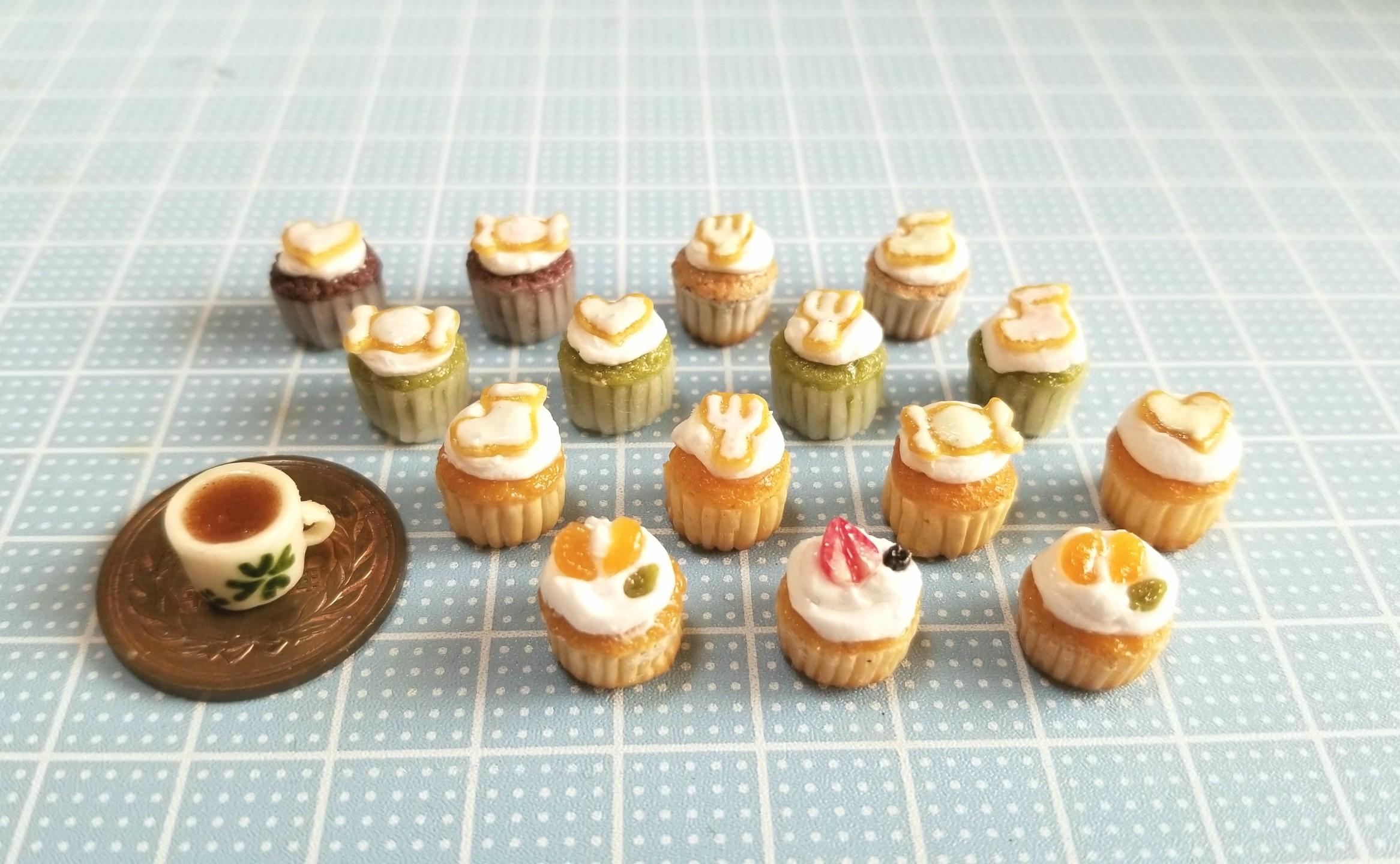 ミニチュアフード,カップケーキ,アイシングクッキー,樹脂粘土,オビツ