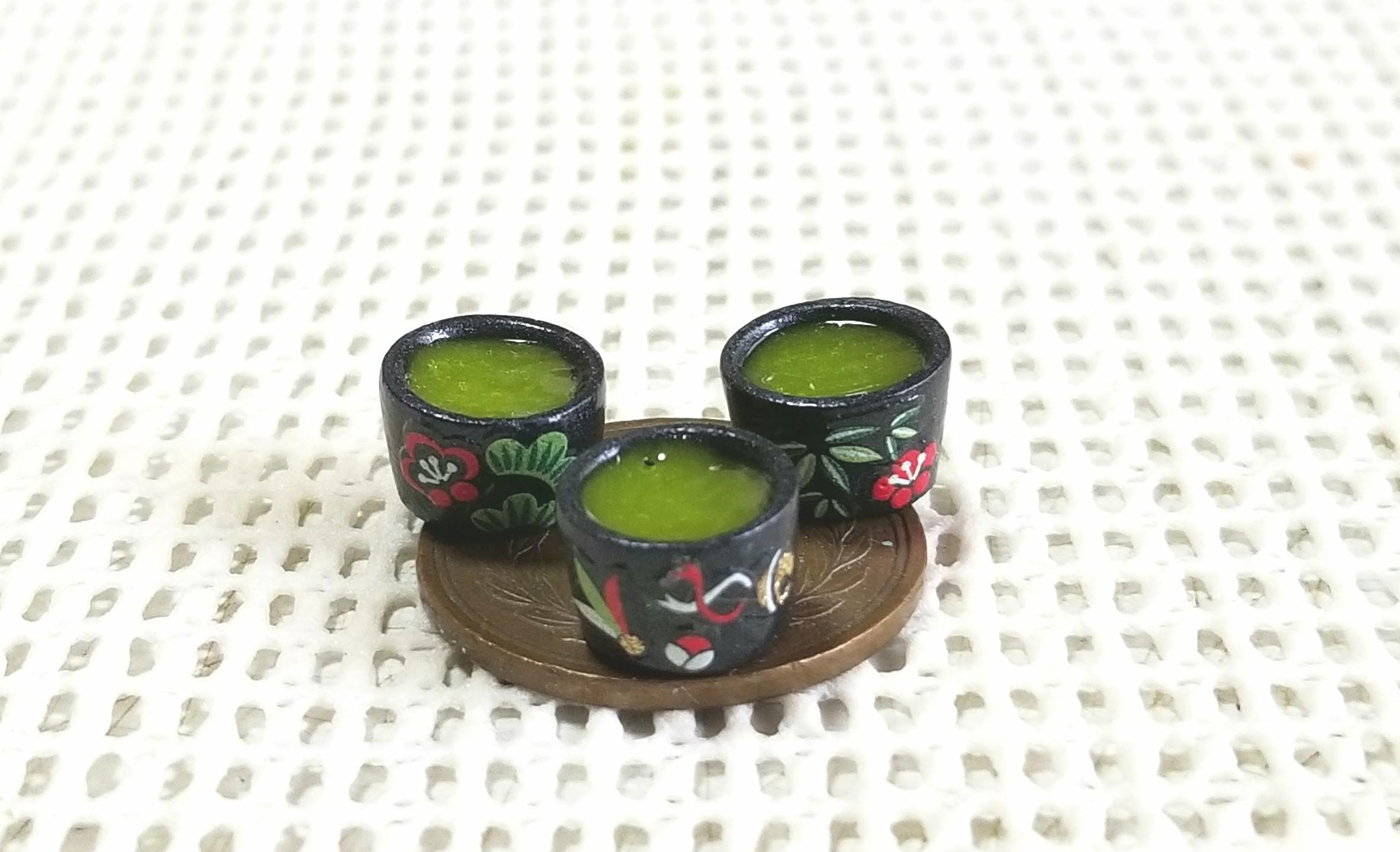 お茶,ミニチュアフード,お抹茶,UVレジン,粘土,ドールハウス,オビツ11