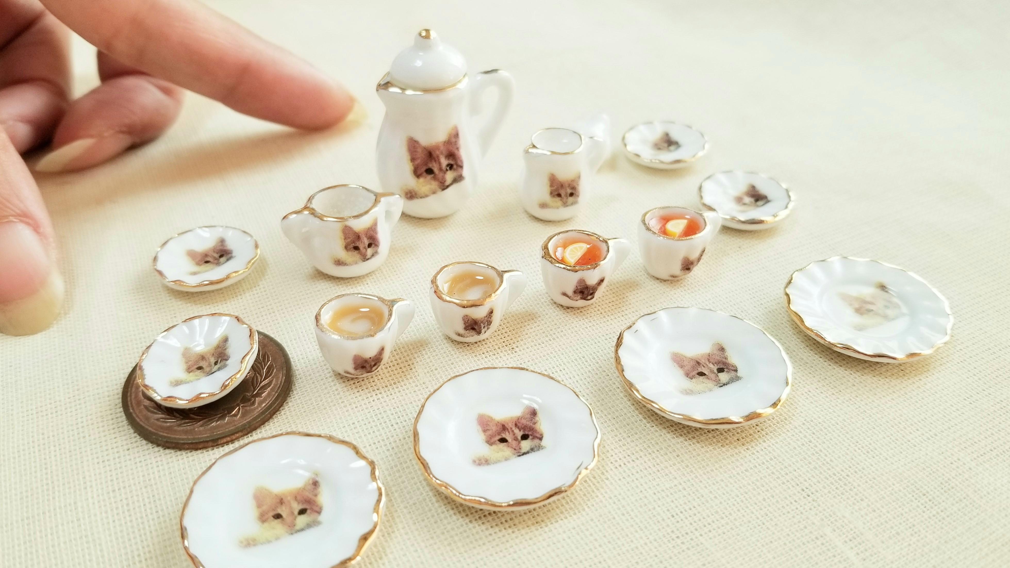 ミニチュアフード陶器のティーカップセットかわいい飲み物ドリンク