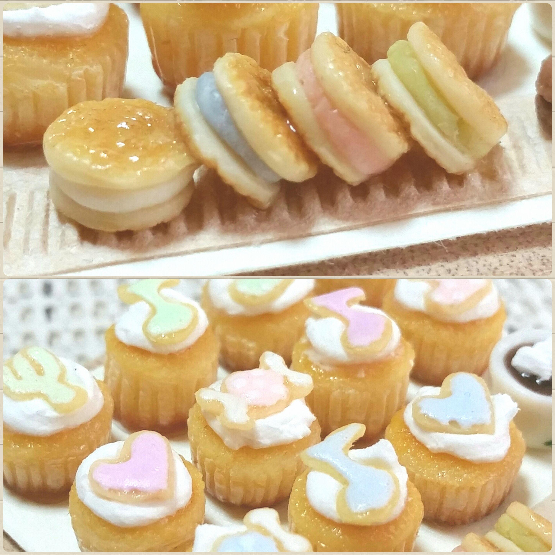 樹脂粘土,ミニチュアフード,アイシングクッキー,カップケーキ,玩具