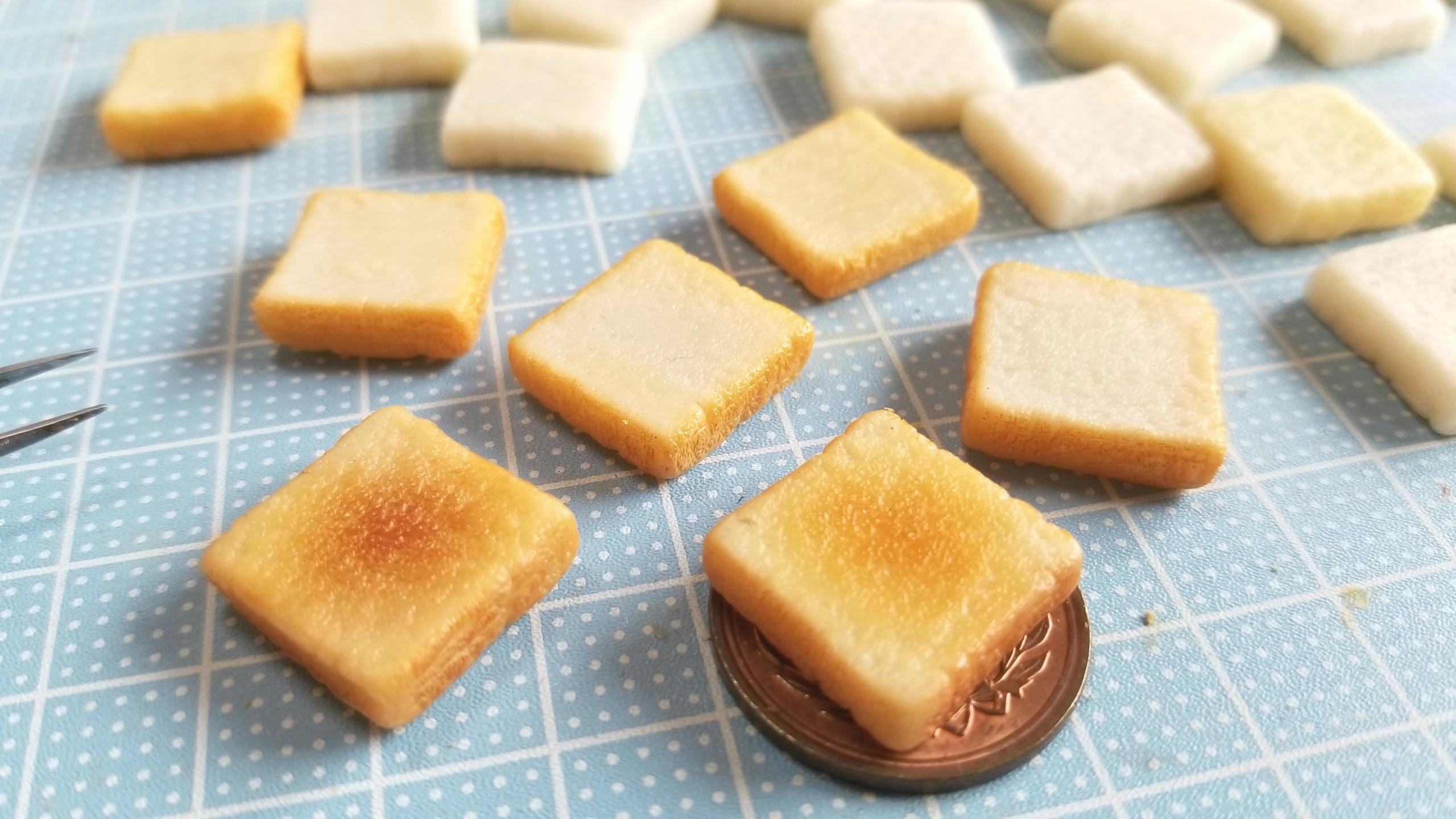 かわいいミニチュアフードの作り方,樹脂粘土食パントースト,リアルな