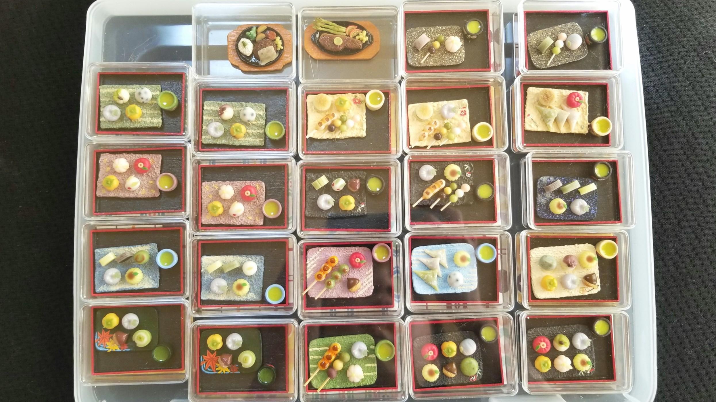 イベント用,ミニチュアフード,樹脂粘土,全作品,和菓子,ドールハウス