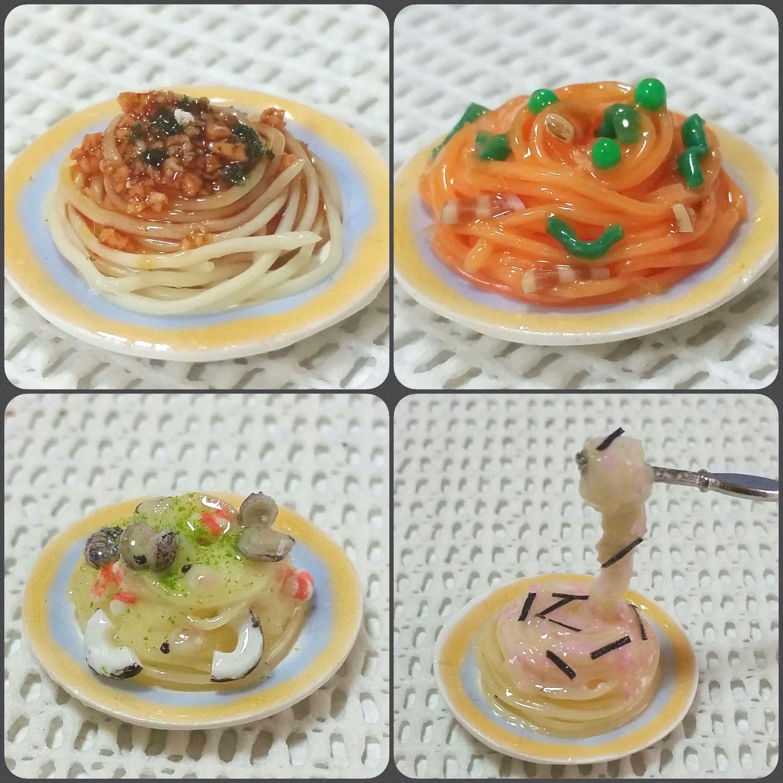 ミニチュアフード,樹脂粘土,レジン,スパゲティー,パスタ,ドール