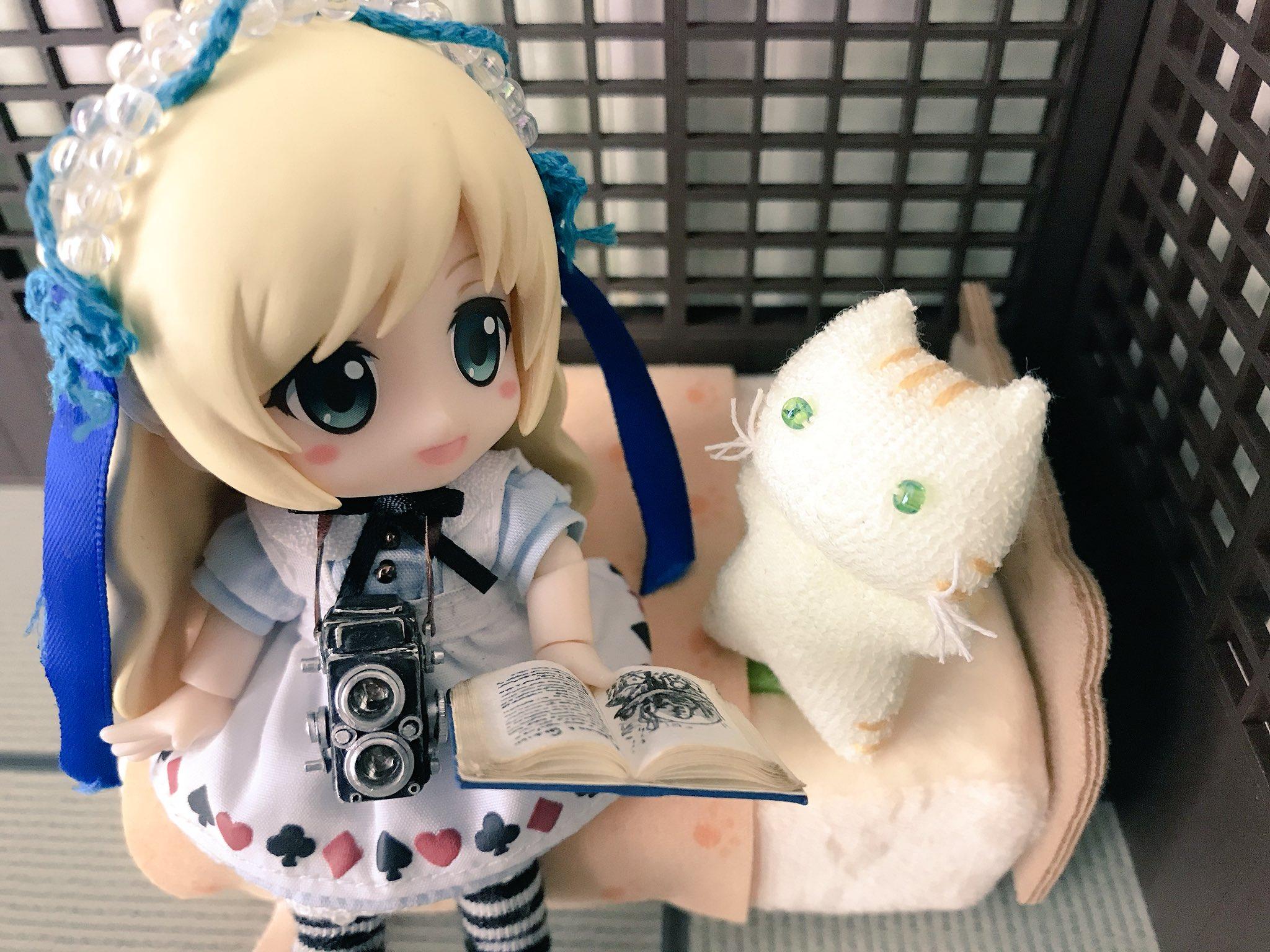 キューポッシュ,絵本の読みきかせ,可愛い猫のぬいぐるみ,ドール小物