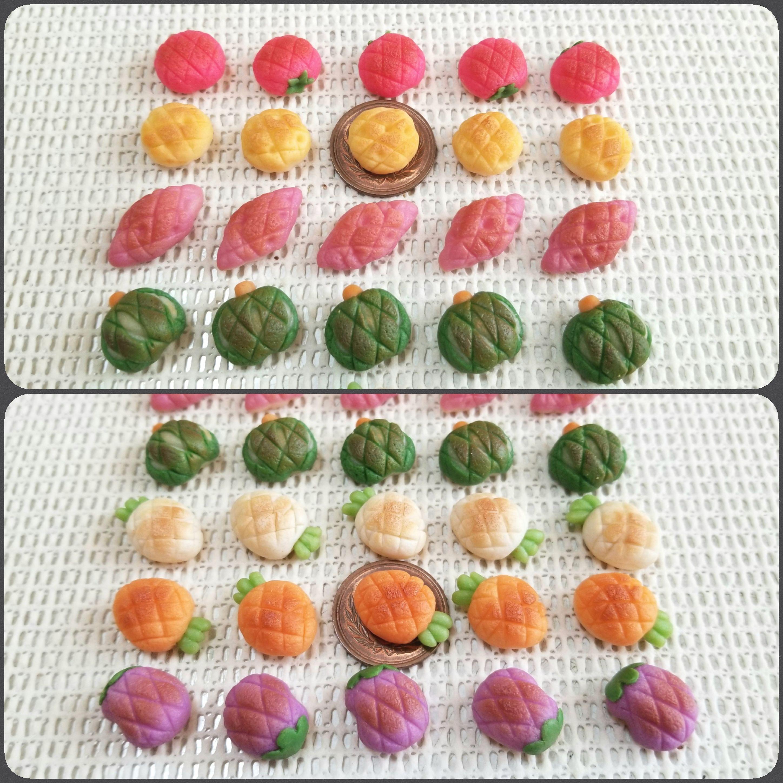 野菜のメロンパン,ミニチュアフード,包装,焼き色,樹脂粘土,ドール