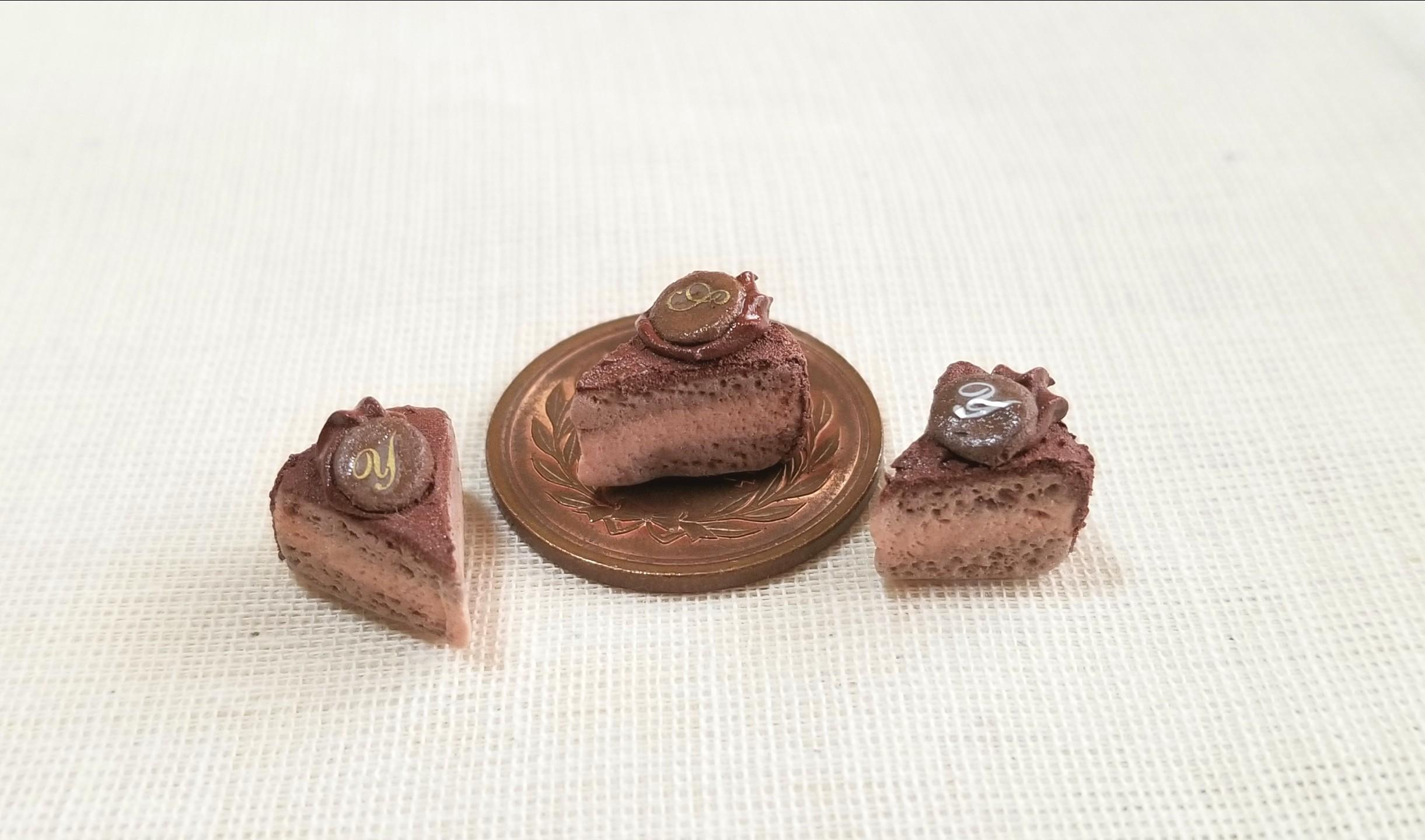 ミニチュアフード,チョコレートケーキ,樹脂粘土,ミンネ購入