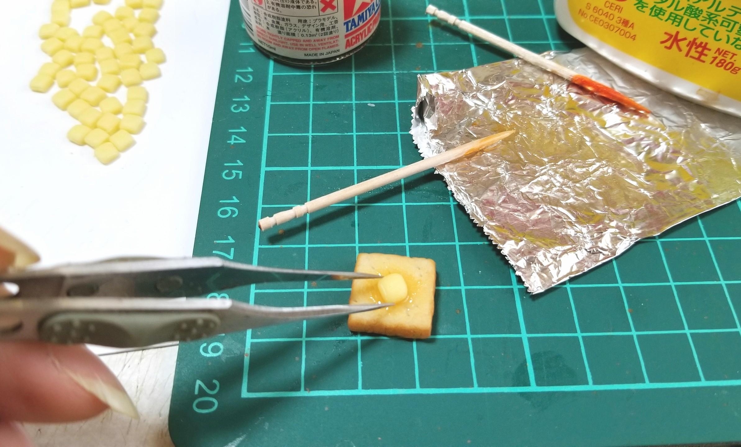 ミニチュアフード,バタートーストの作り方,樹脂粘土,フェイクフード