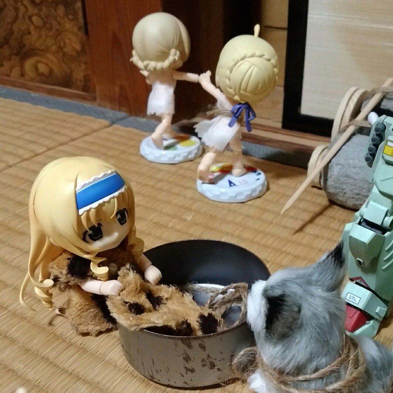 キューポッシュ,洗濯掃除家事原始人,ネタ群居ドール流行人形おもちゃ