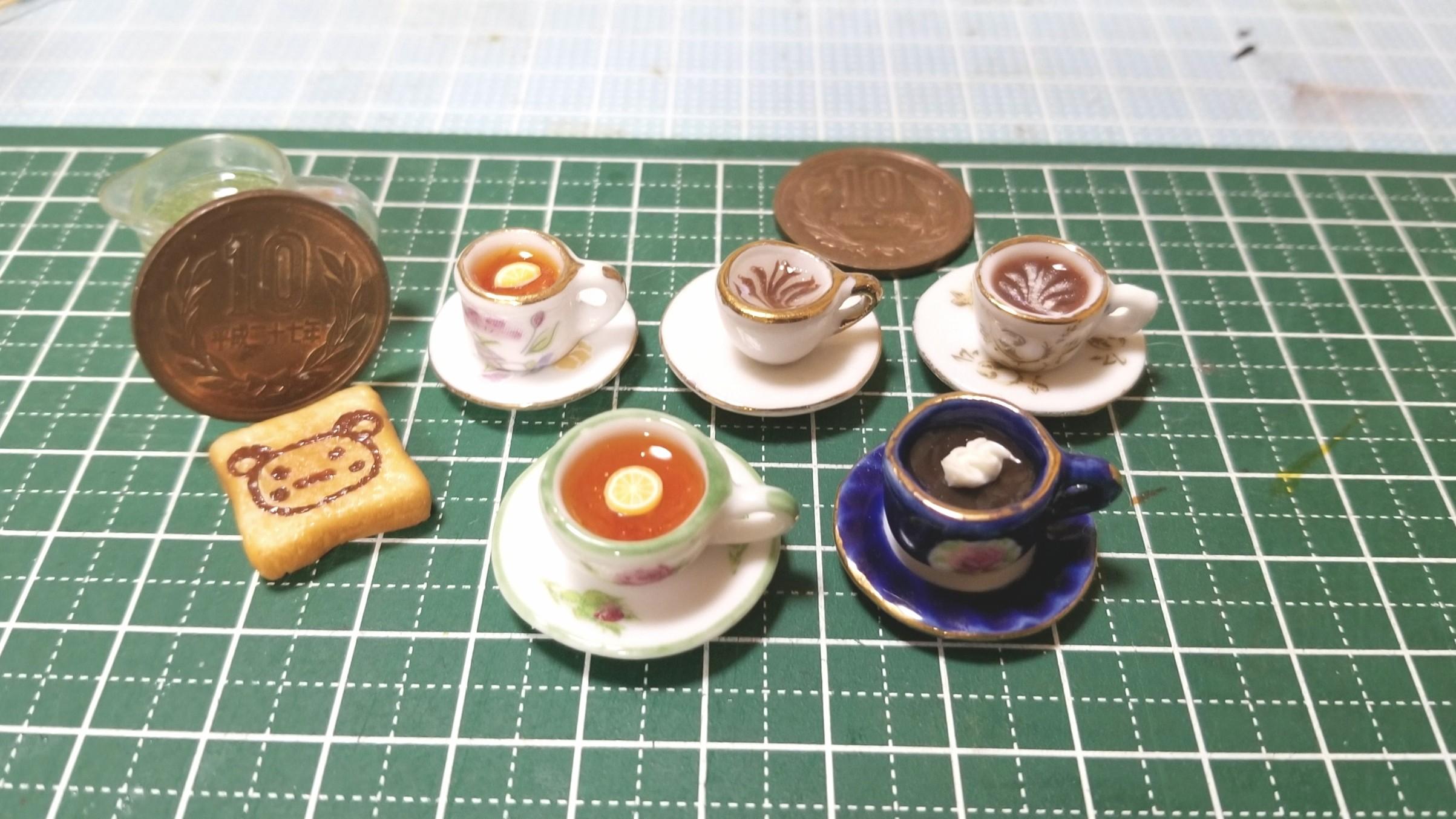 ミニチュアフード,製作過程途中,ドリンクの作り方,樹脂粘土,レジン