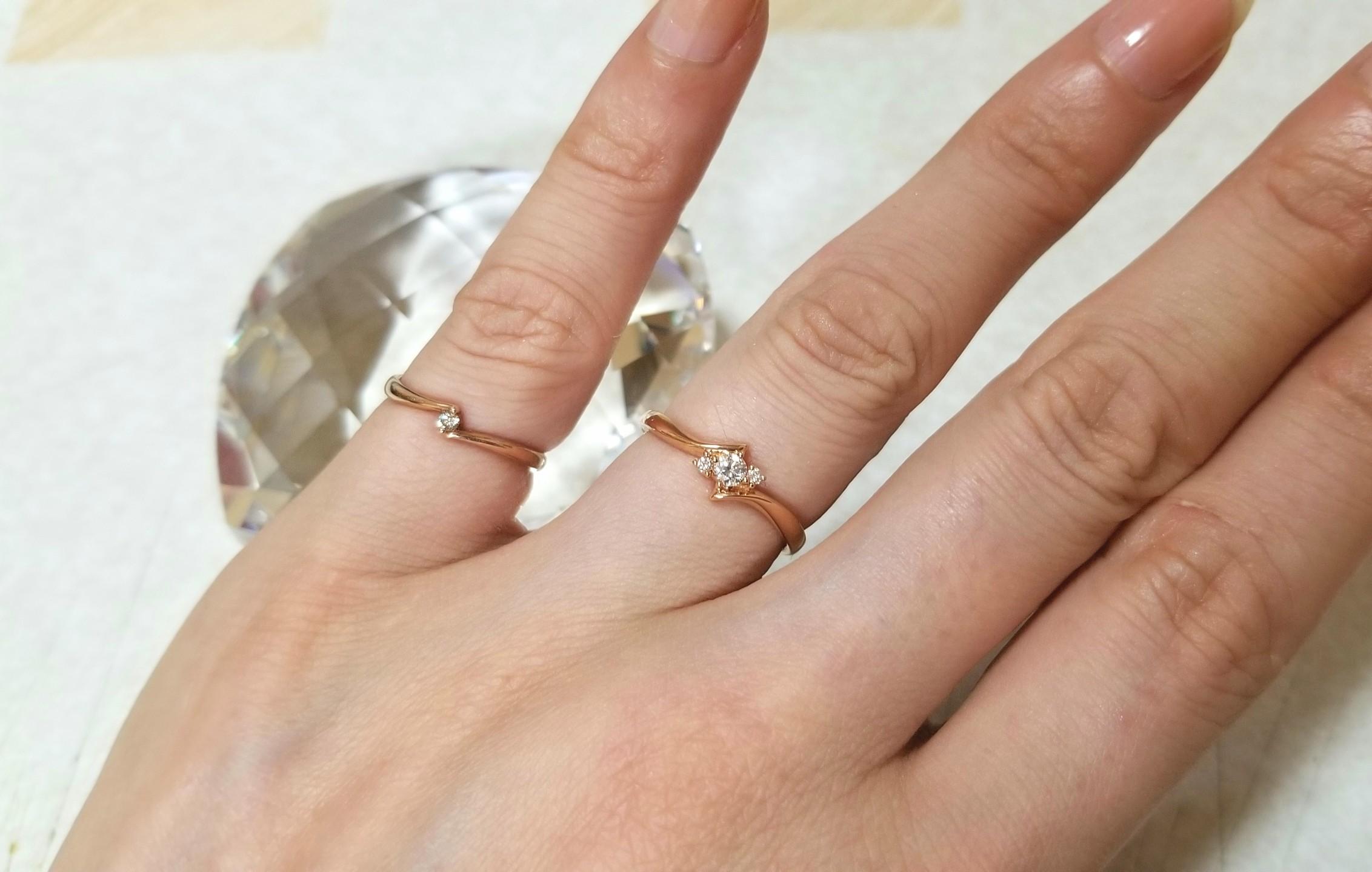 指輪,ダイヤ,ピンクゴールド,18金,4℃,誕生日プレゼント