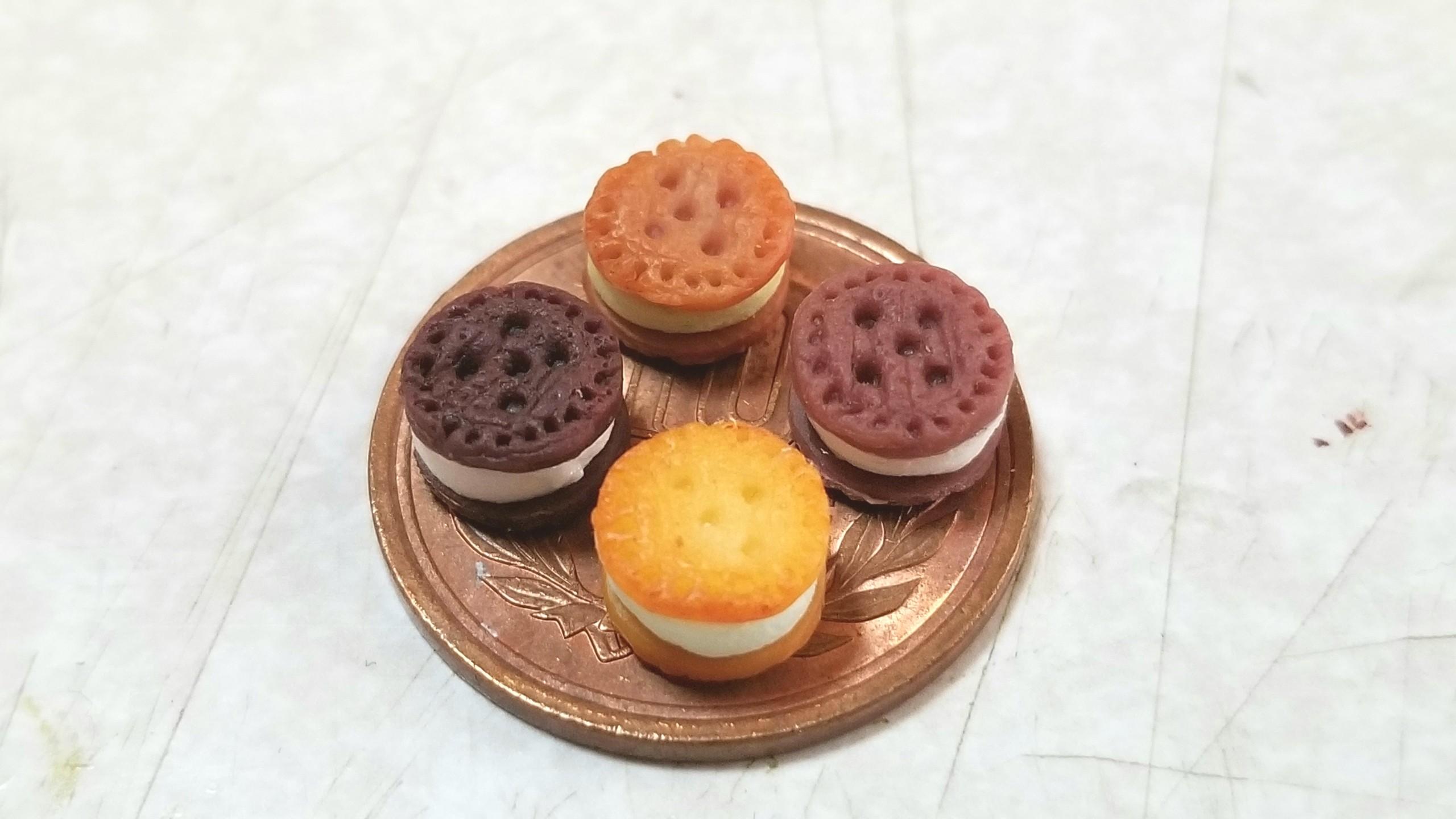 クッキーサンドアイスクリーム,ミニチュア,樹脂粘土,ドールハウス