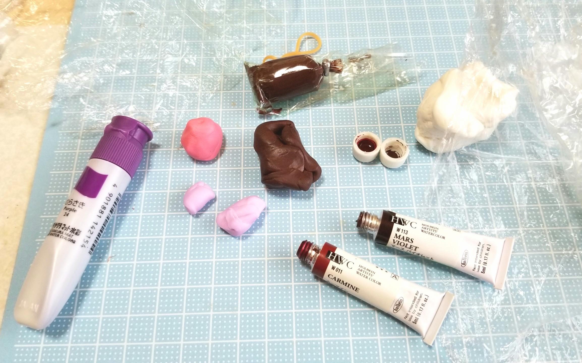 ミニチュアフード,和菓子,切羊羮の作り方,ようかん,樹脂粘土,カラー