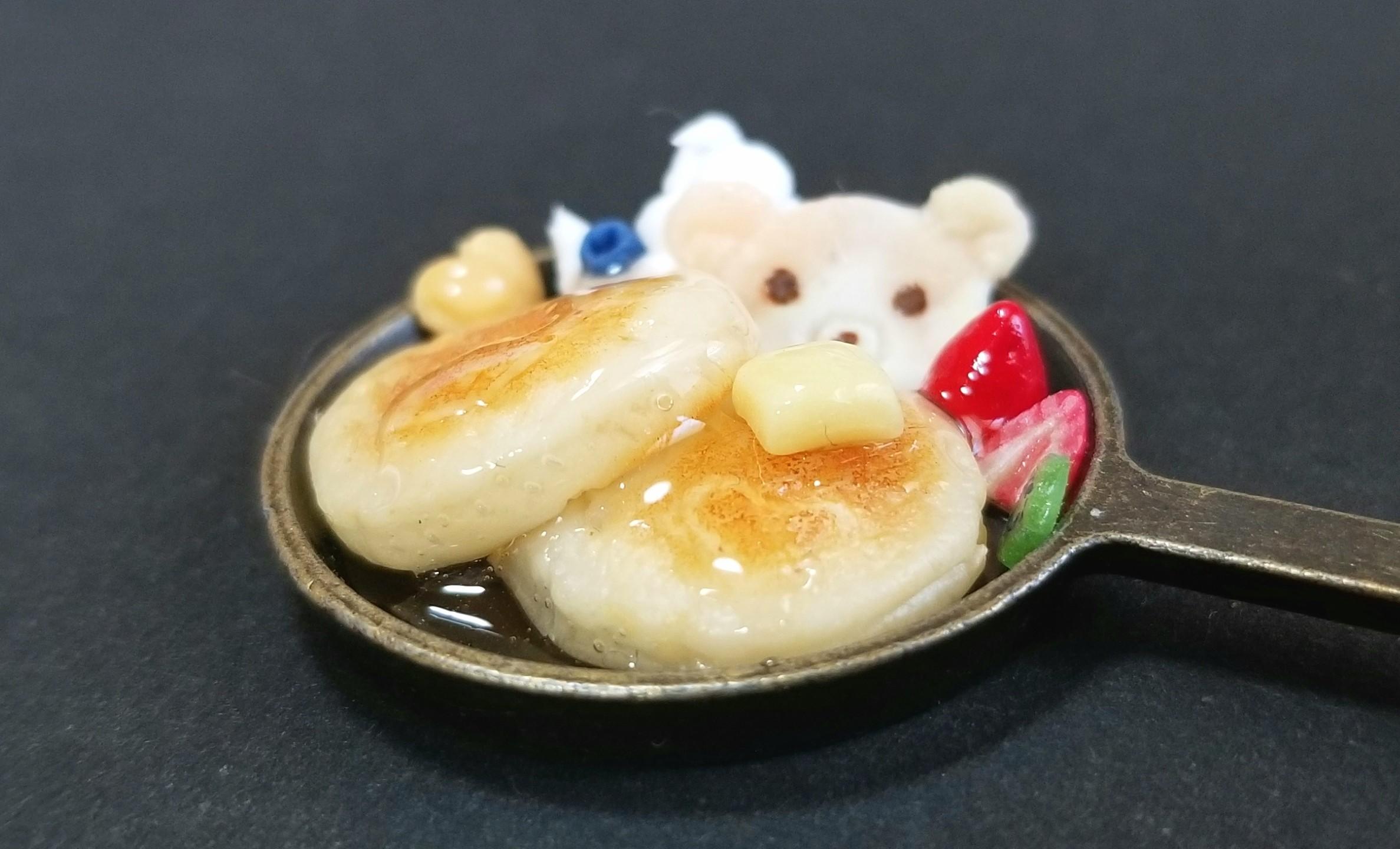 ミニチュアフード,クマちゃんのホットケーキ,ハンドメイド,樹脂粘土