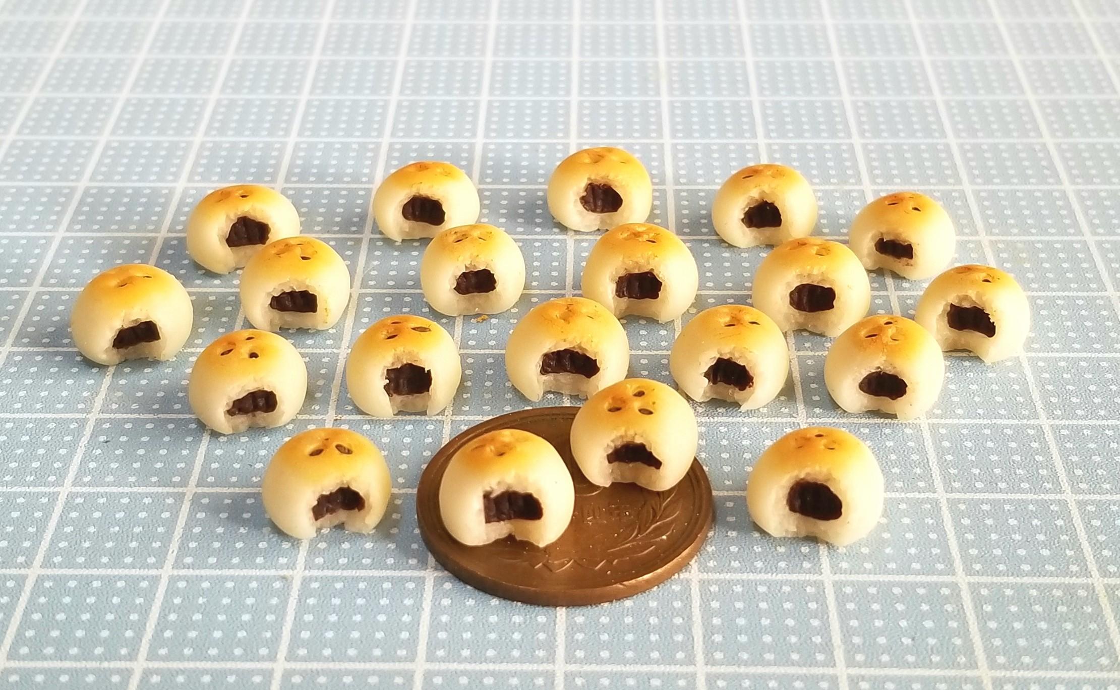 ミニチュア,パン,あんぱん,樹脂粘土,ドールハウス,オビツ11