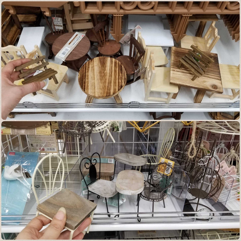 100均,ダイソー,DAISO,ドール用小物,椅子,イス,テーブル,机,木製品