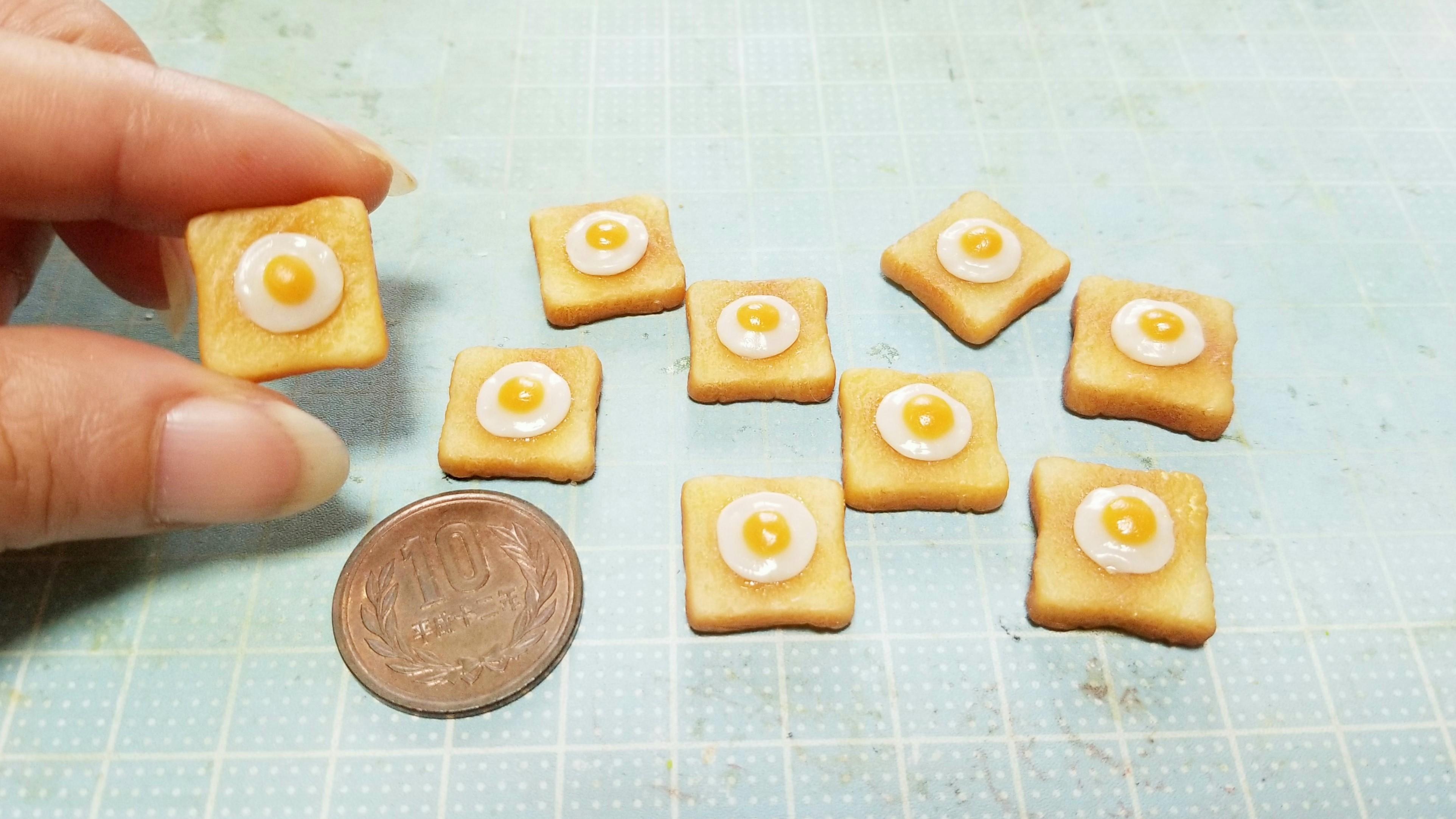 ミニチュアフード美味しそうな目玉焼きトーストレシピ樹脂粘土小物