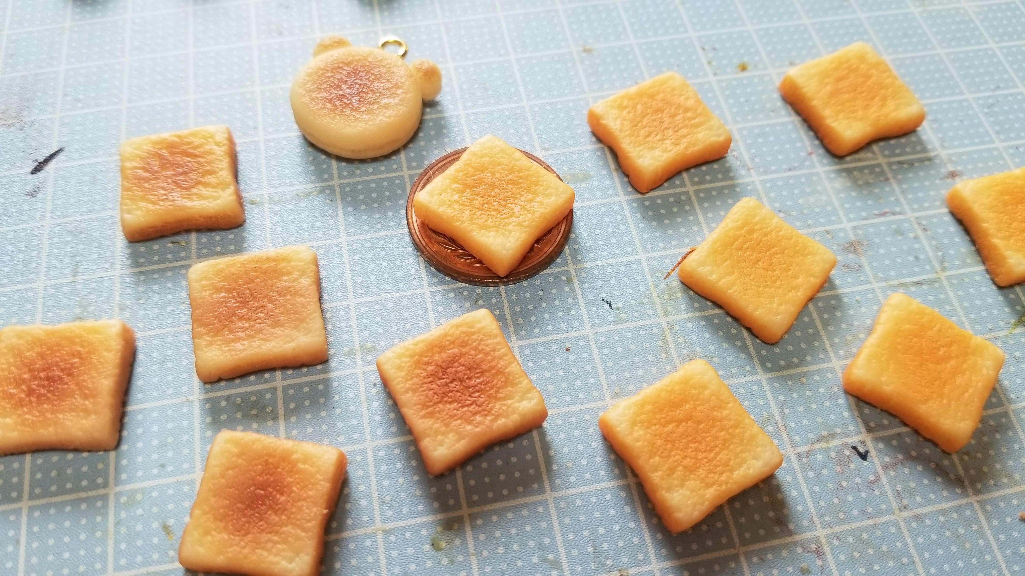 ミニチュアフード食パントースト作り方樹脂粘土ハンドメイドフェイク