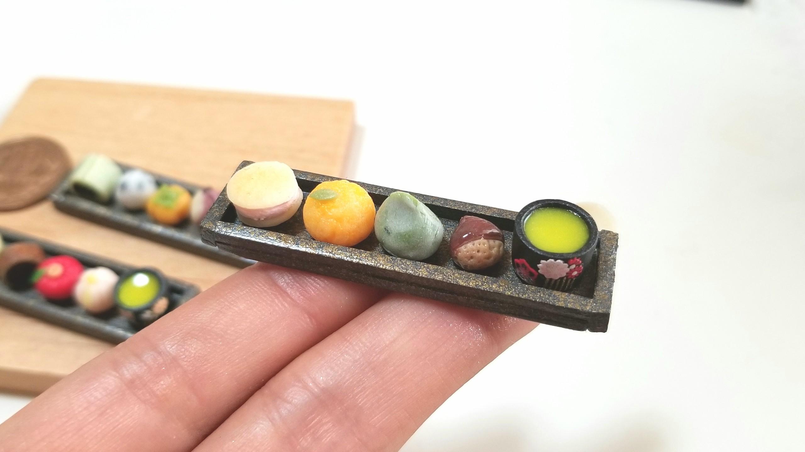 和菓子,ミニチュアフード,樹脂粘土,ミンネで販売中,ドールハウス